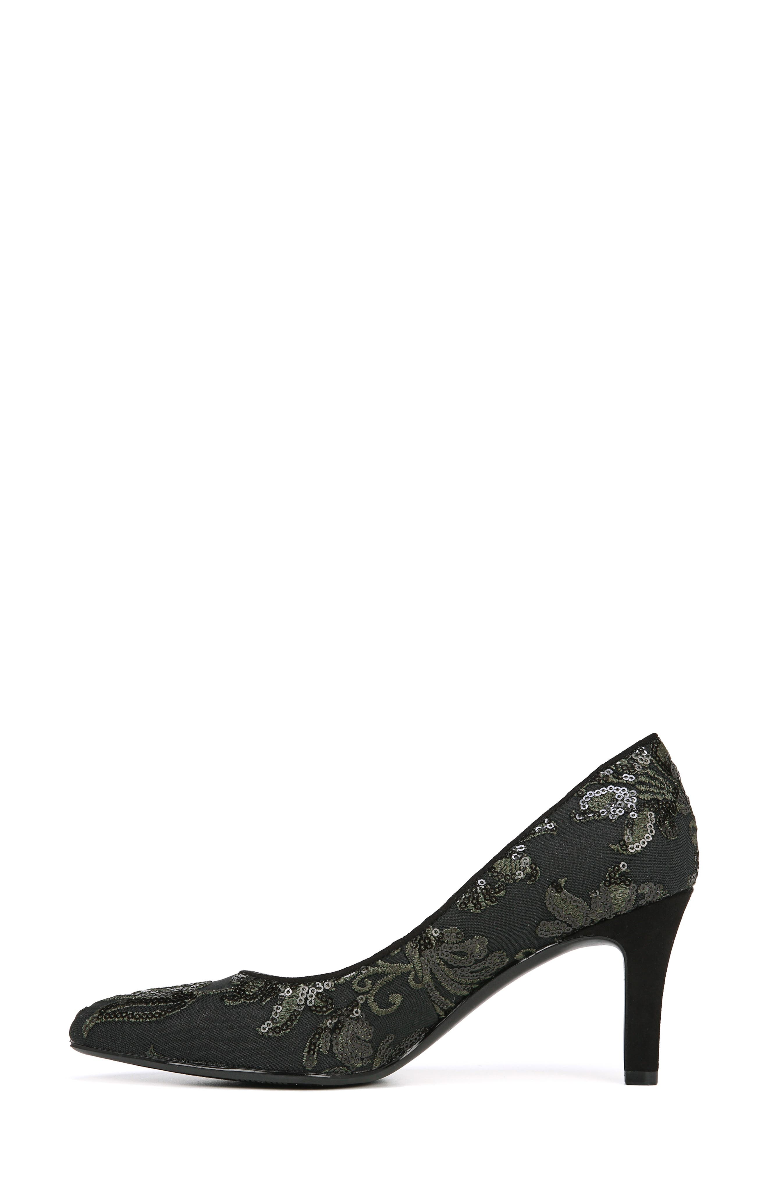 NATURALIZER, Natalie Pointy Toe Pump, Alternate thumbnail 8, color, FERN GREEN EMBROIDERED