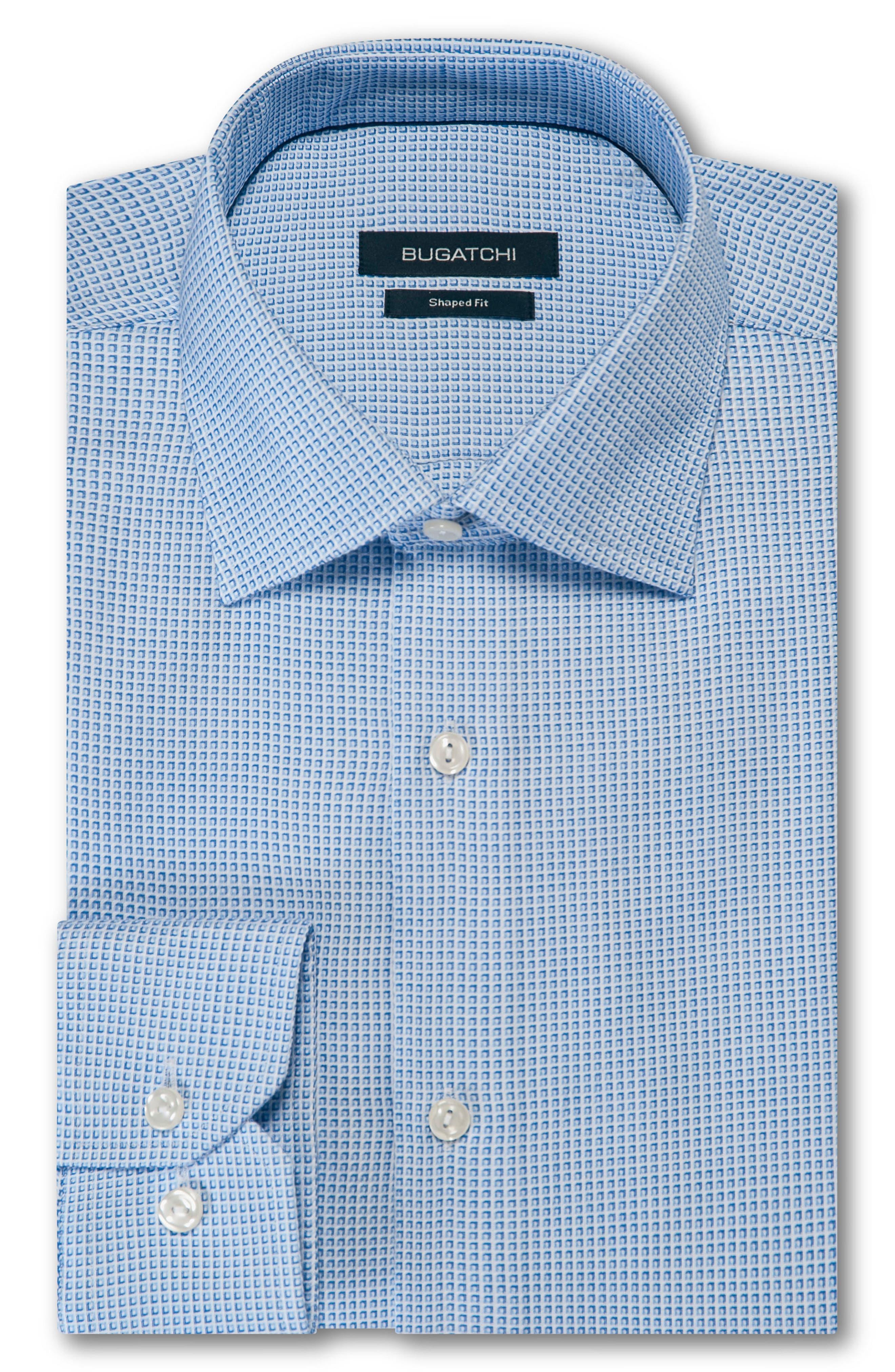 BUGATCHI, Trim Fit Check Dress Shirt, Main thumbnail 1, color, 459