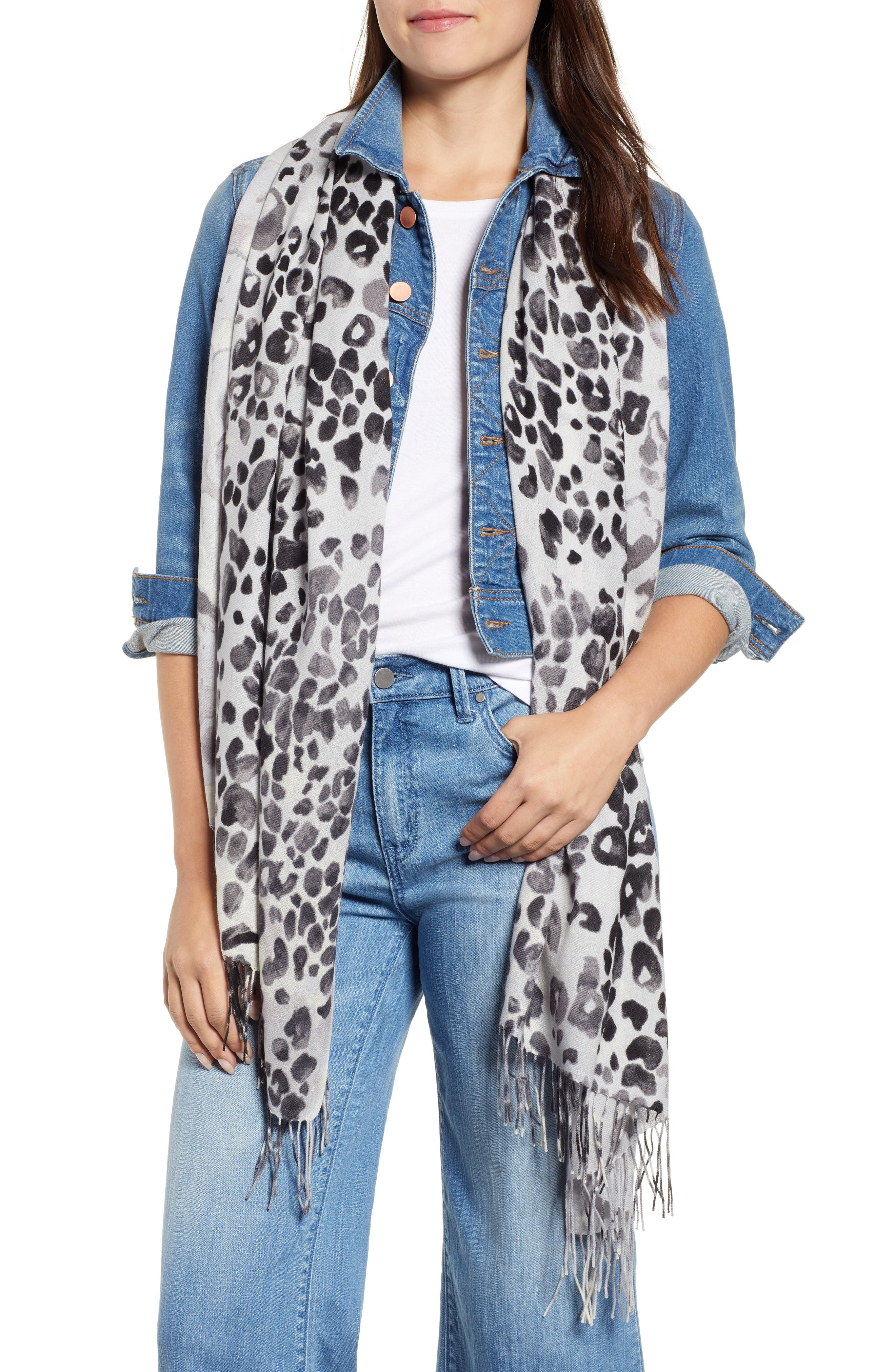 NORDSTROM, Tissue Print Wool & Cashmere Wrap Scarf, Main thumbnail 1, color, 001