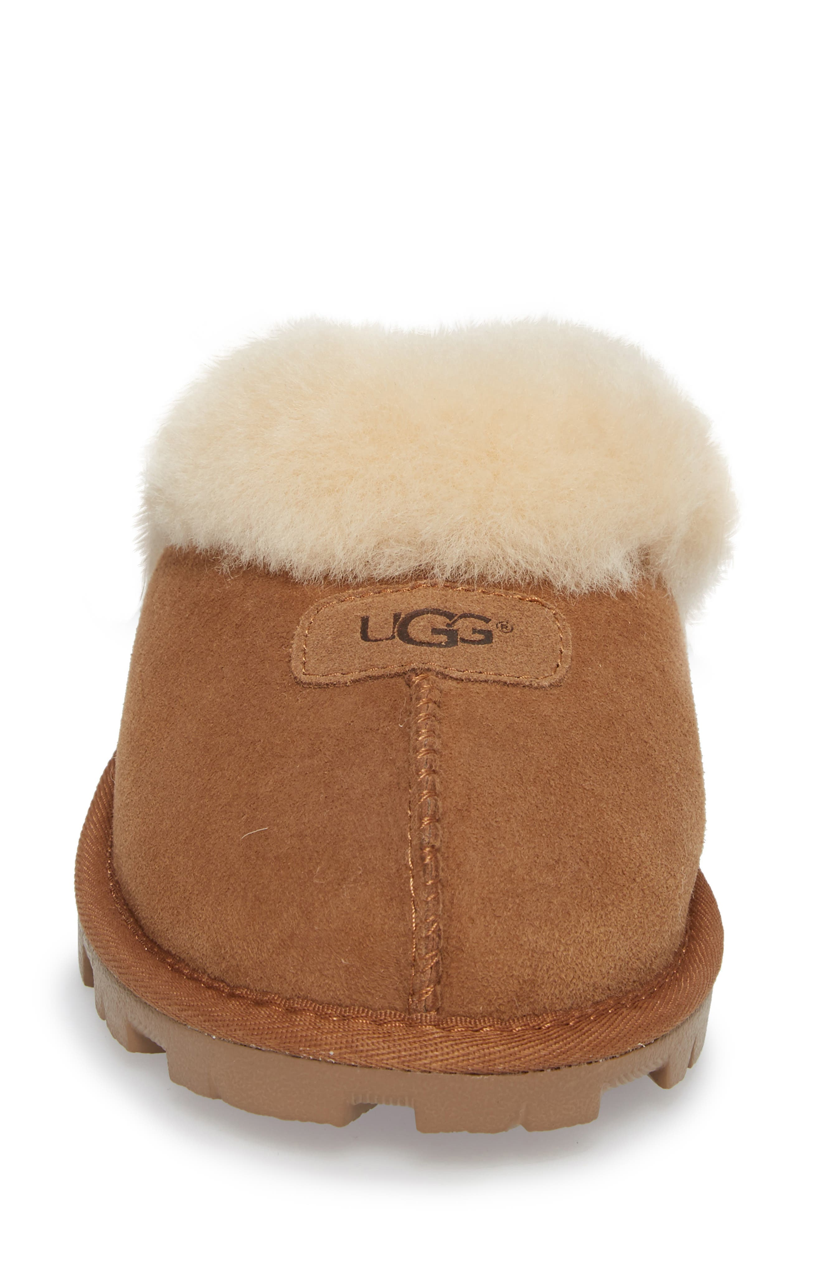 UGG<SUP>®</SUP>, Genuine Shearling Slipper, Alternate thumbnail 4, color, CHESTNUT