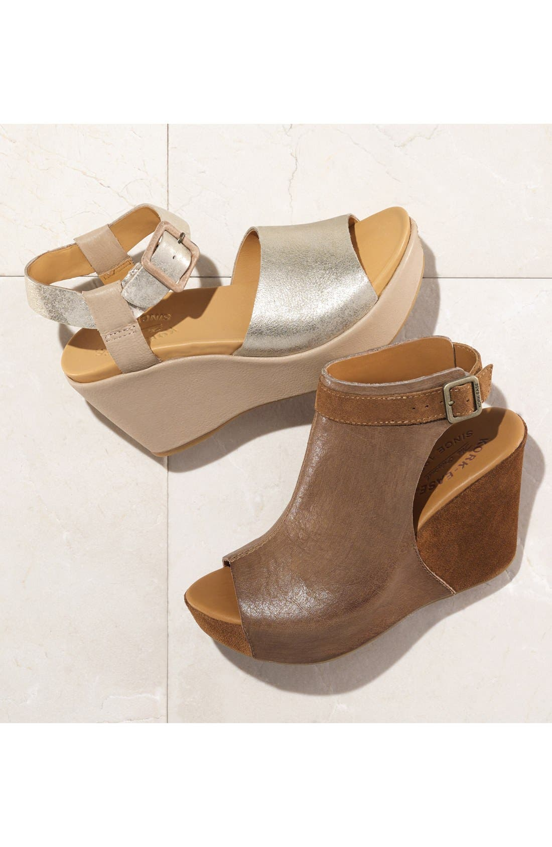 KORK-EASE<SUP>®</SUP>, 'Berit' Wedge Sandal, Alternate thumbnail 7, color, BROWN LEATHER
