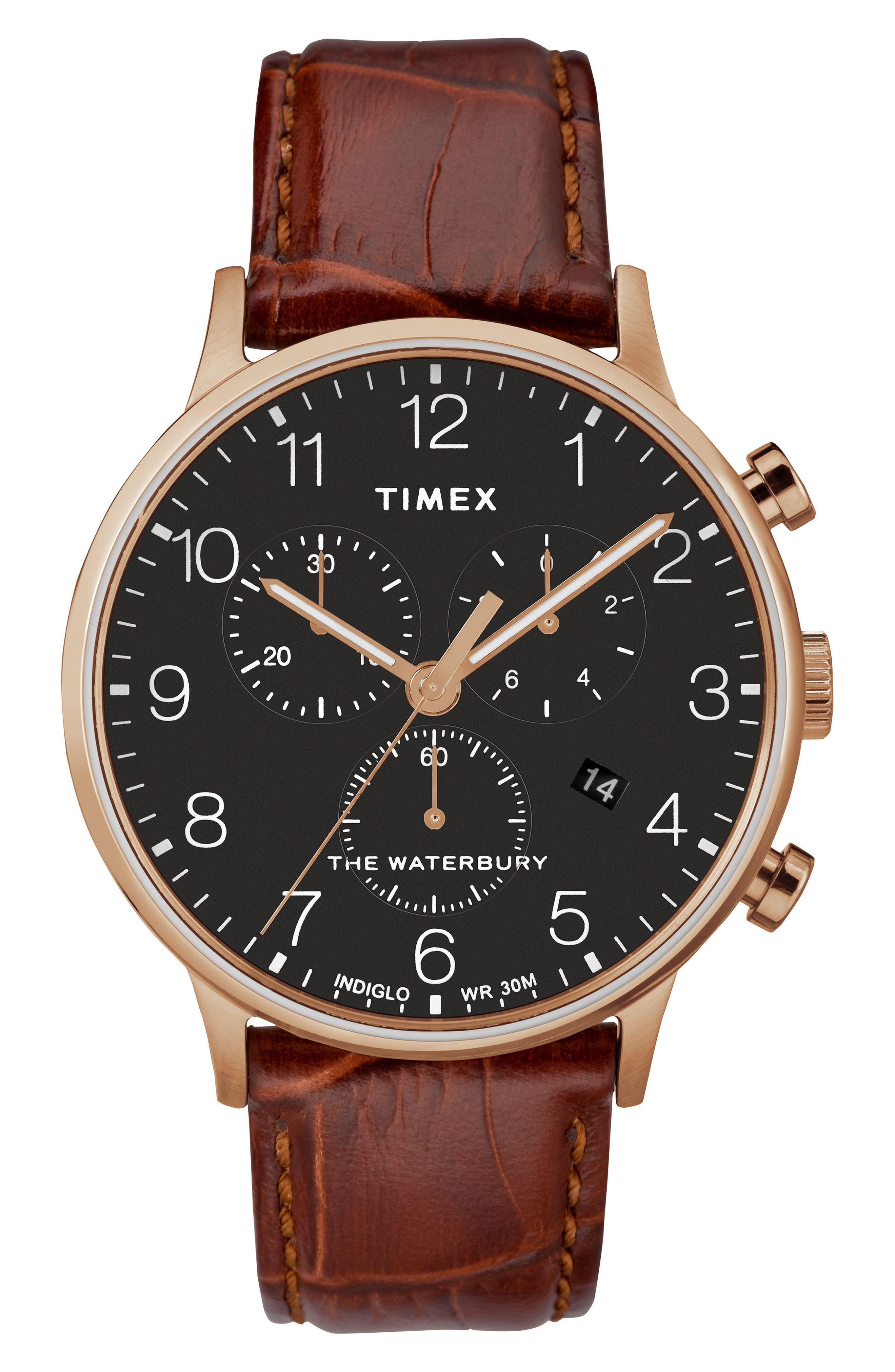TIMEX<SUP>®</SUP>, Waterbury Chronograph Leather Strap Watch, 40mm, Main thumbnail 1, color, BROWN/ BLACK/ ROSE GOLD