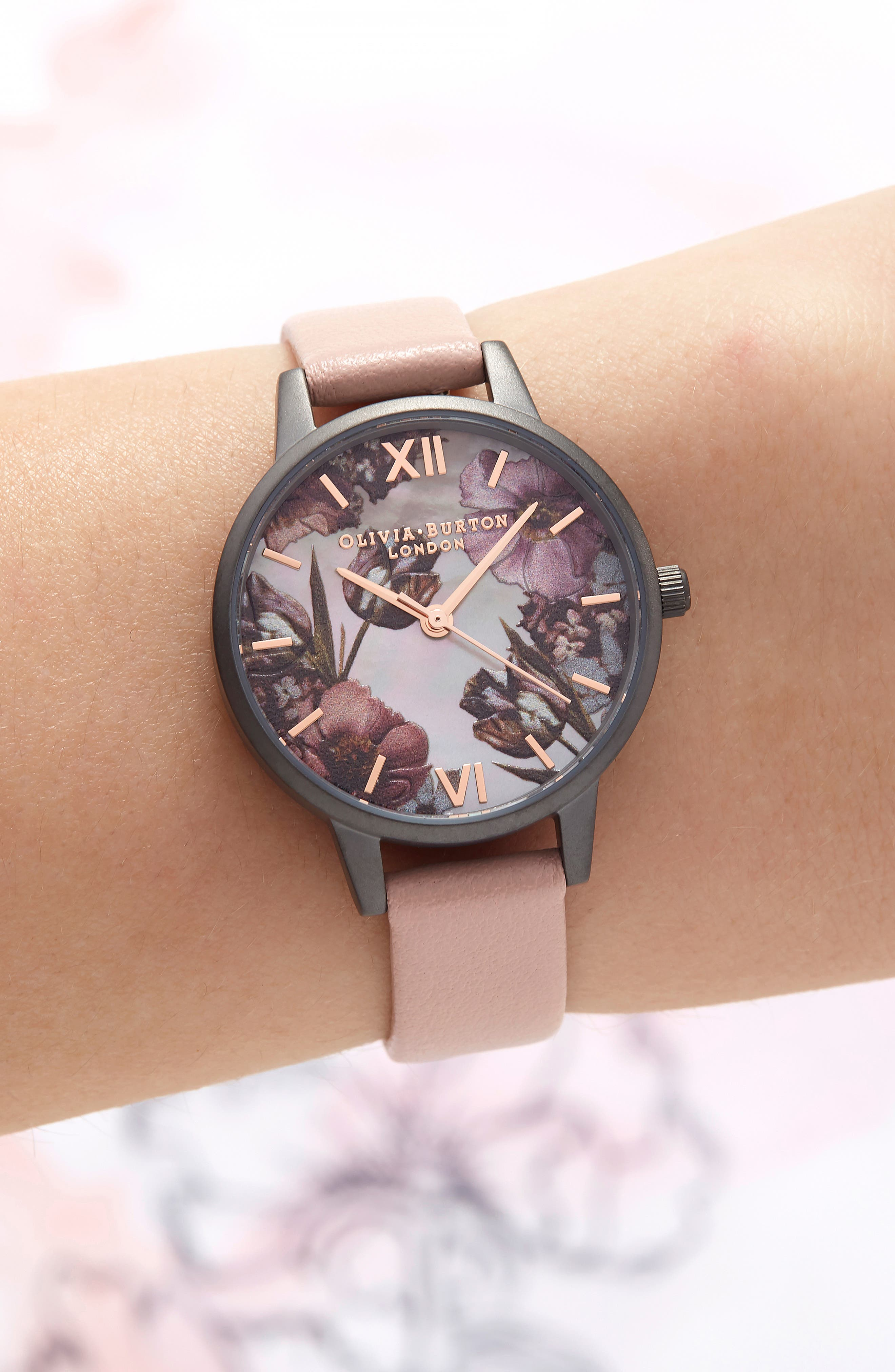 OLIVIA BURTON, Twilight Leather Strap Watch, 30mm, Alternate thumbnail 2, color, 650