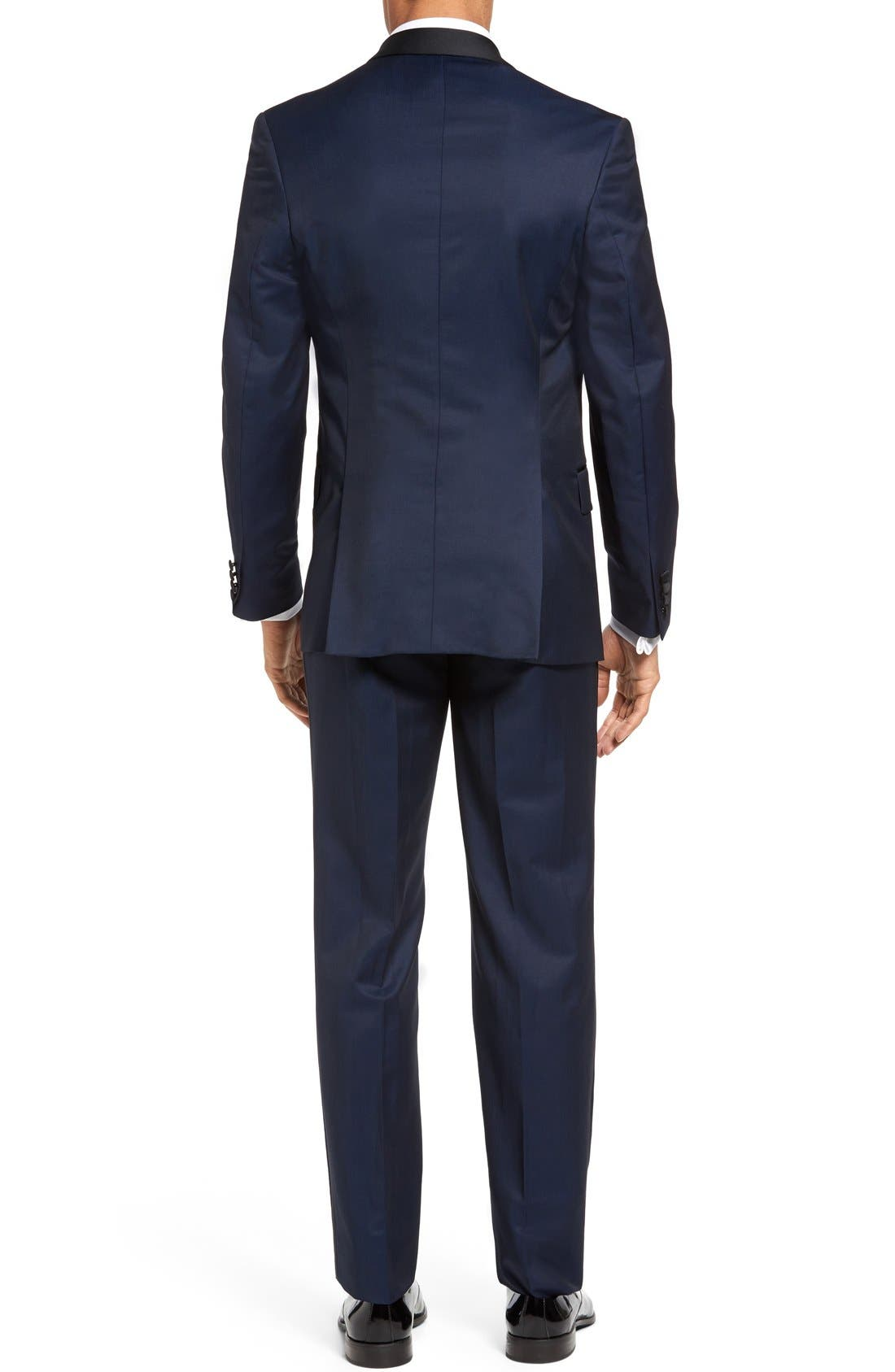 TED BAKER LONDON, Josh Trim Fit Navy Shawl Lapel Tuxedo, Alternate thumbnail 3, color, NAVY BLUE