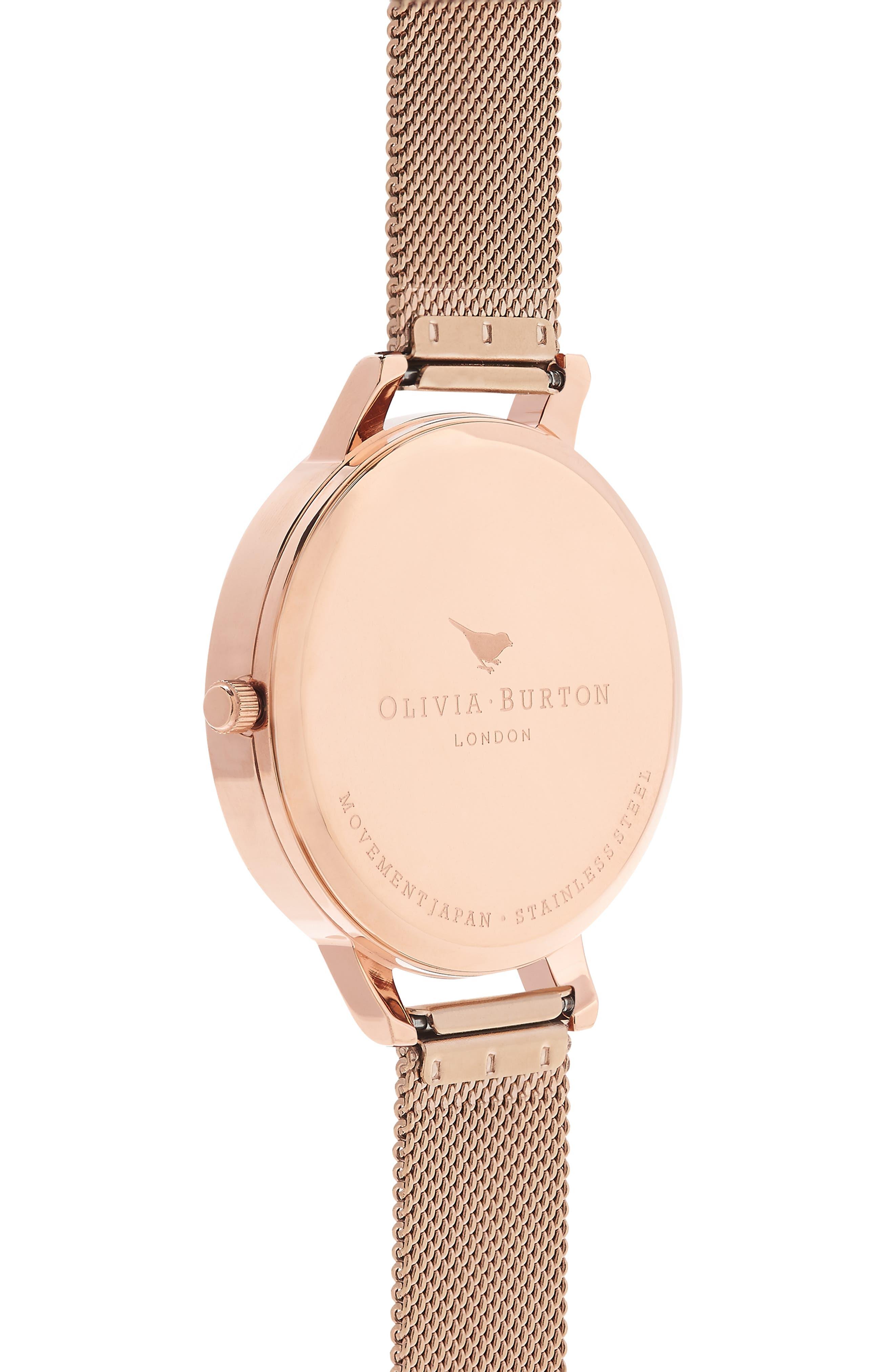 OLIVIA BURTON, Signature Florals Mesh Bracelet Watch, 38mm, Alternate thumbnail 3, color, ROSE GOLD/ ROSE GOLD/ WHITE