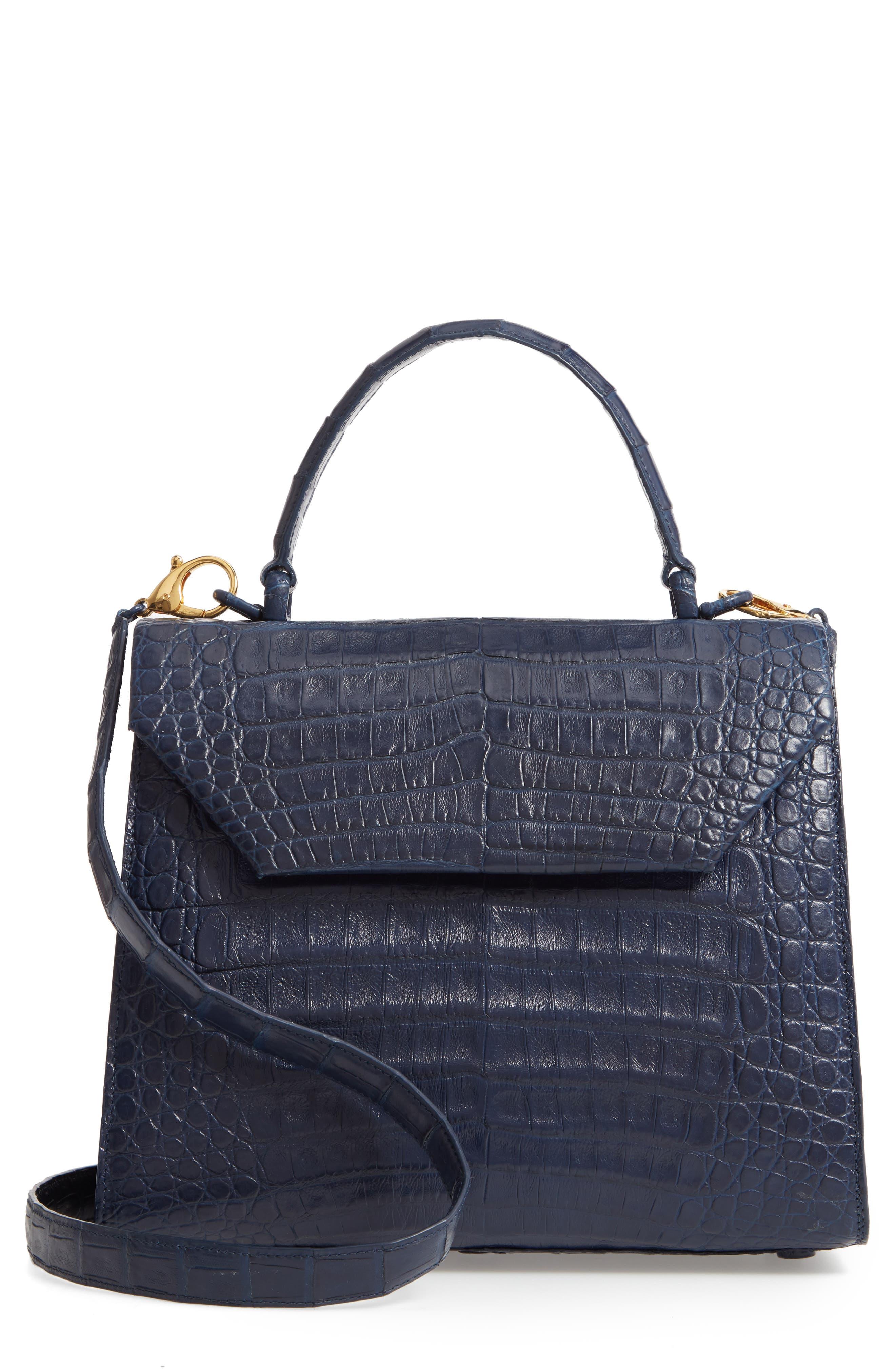 NANCY GONZALEZ, Medium Lily Genuine Crocodile Crossbody Bag, Main thumbnail 1, color, NAVY MATTE