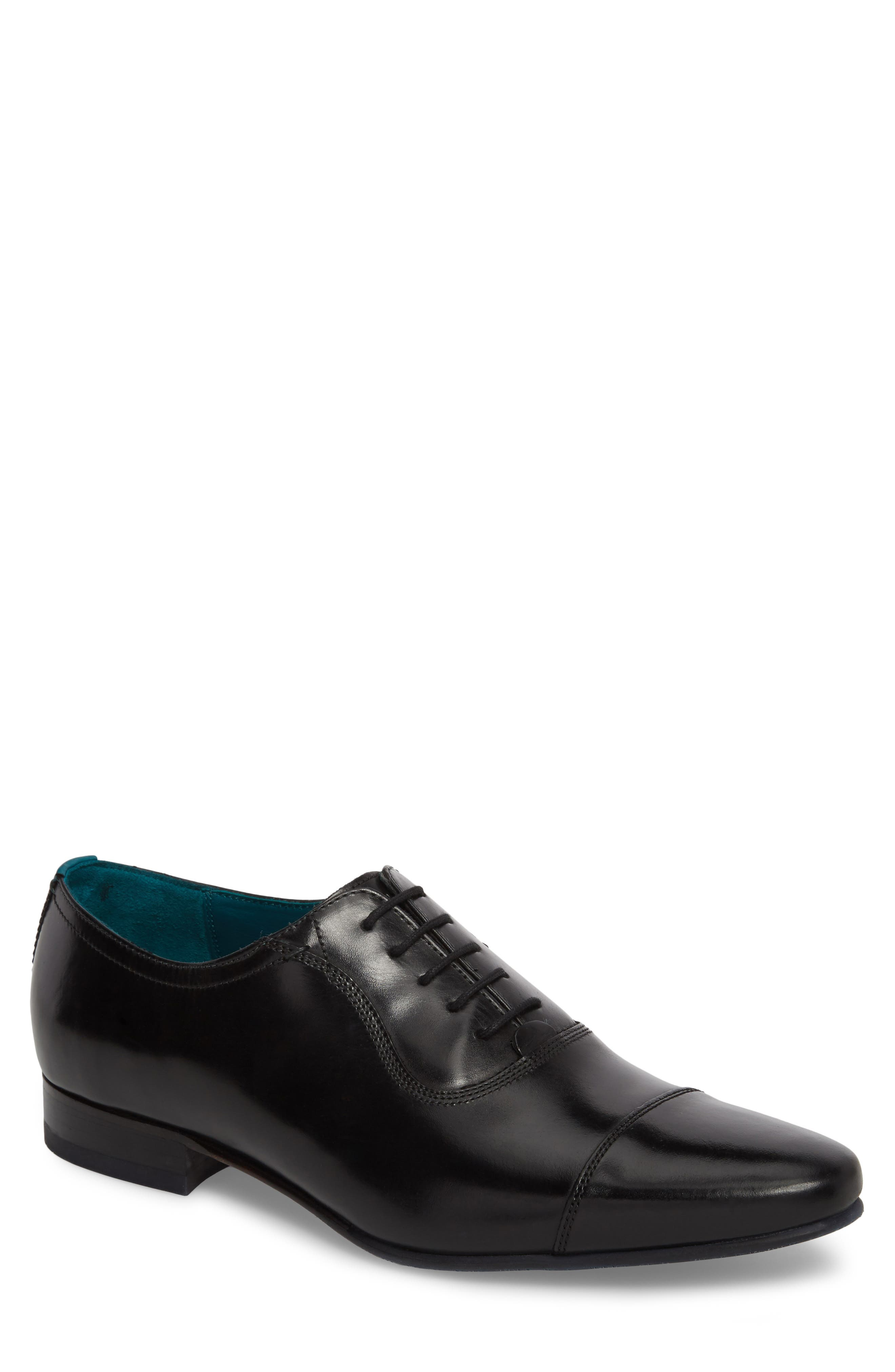 TED BAKER LONDON, Karney Cap Toe Oxford, Main thumbnail 1, color, BLACK LEATHER