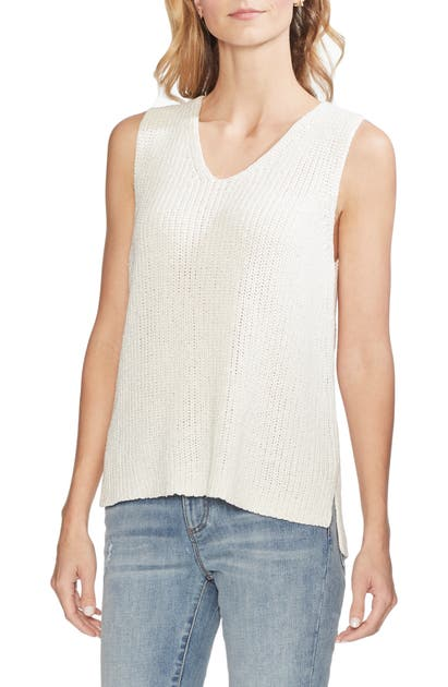 Vince Camuto Sweaters SPECKED SHINY SLEEVELESS SWEATER