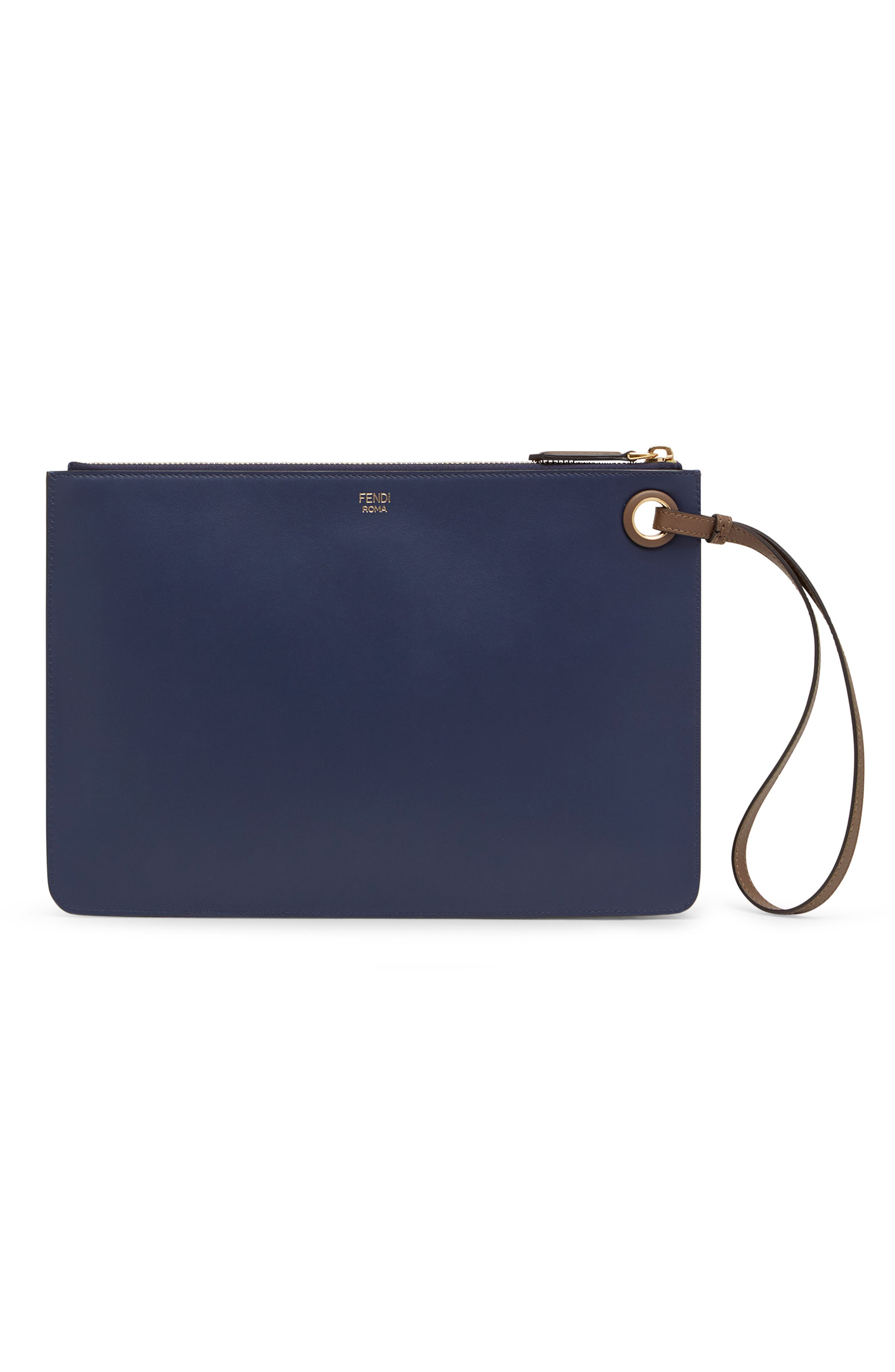 FENDI, x FILA Medium Mania Logo Leather Clutch, Alternate thumbnail 2, color, BLUE/ BERRY MULTI
