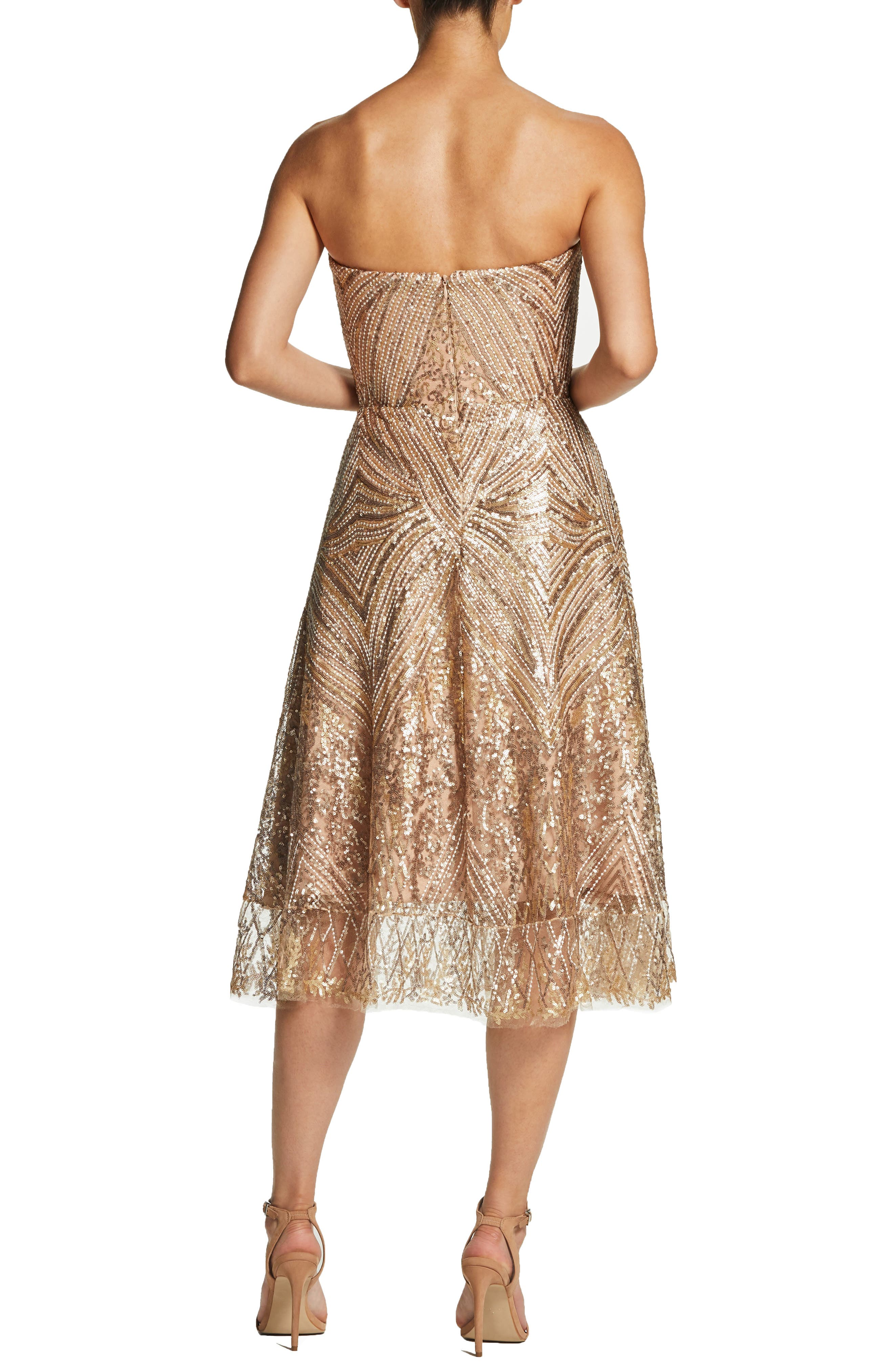 DRESS THE POPULATION, Sarah Sequin Strapless Fit & Flare Dress, Alternate thumbnail 2, color, GOLD/ BRASS