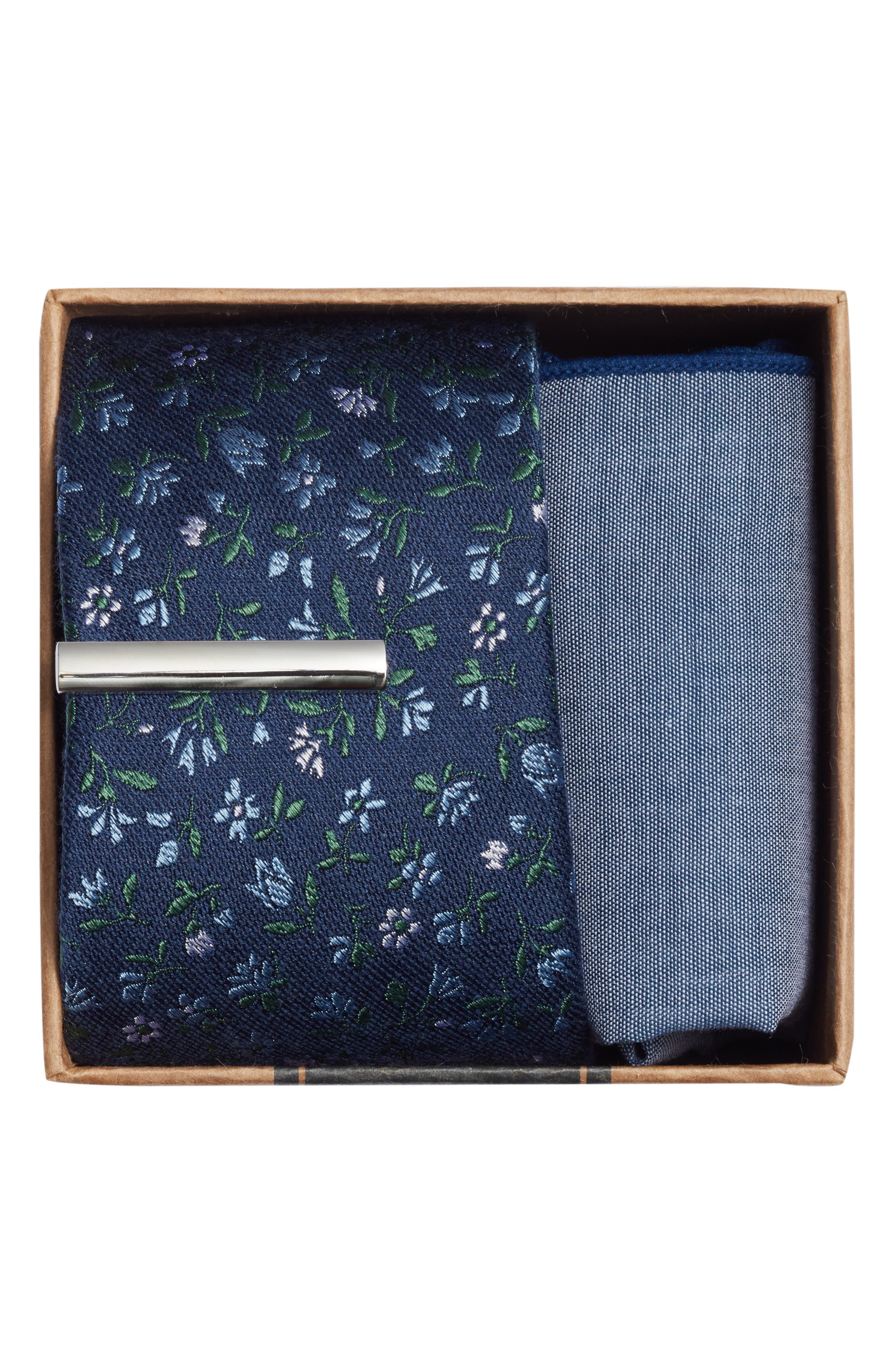THE TIE BAR, Floral Acres 3-Piece Skinny Tie Style Box, Alternate thumbnail 2, color, NAVY