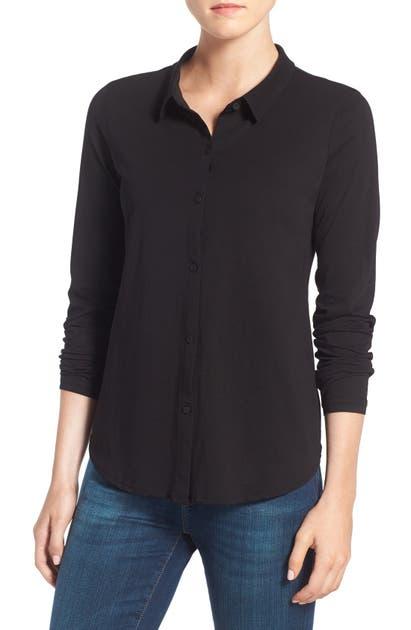Eileen Fisher T-shirts ORGANIC COTTON JERSEY CLASSIC COLLAR SHIRT