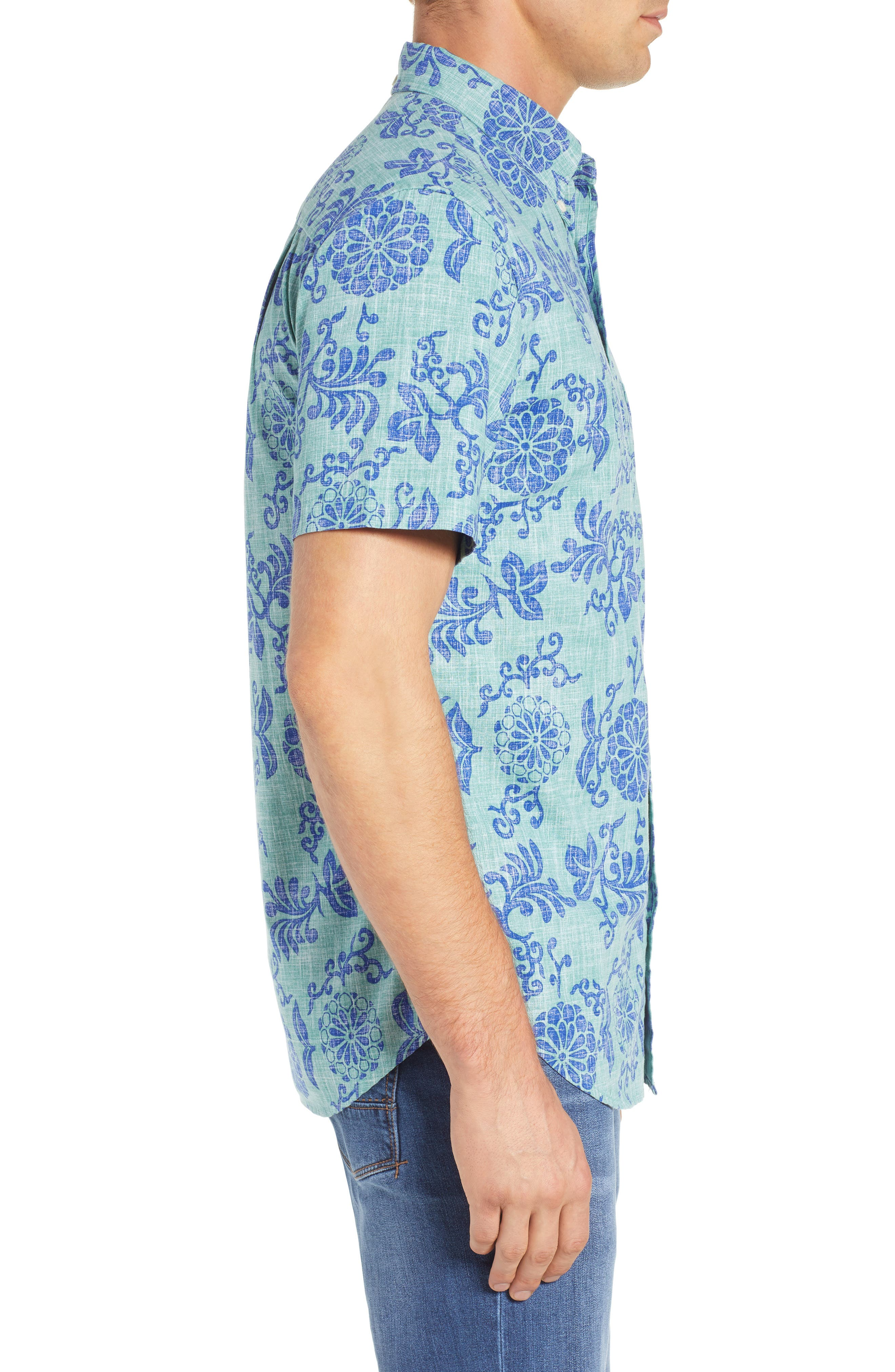 REYN SPOONER, Royal Chrysanthemums Regular Fit Sport Shirt, Alternate thumbnail 4, color, 310