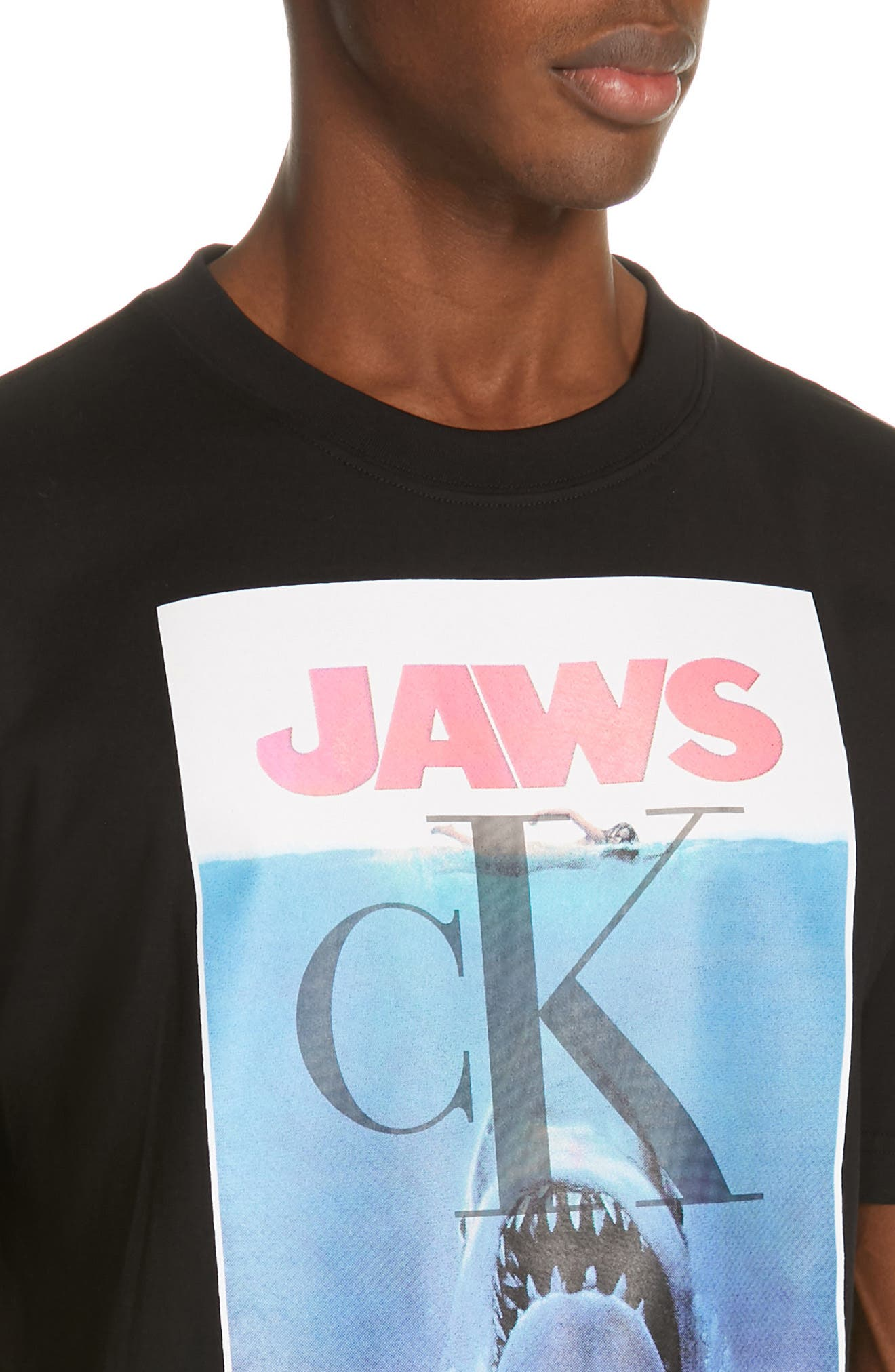 CALVIN KLEIN 205W39NYC, Jaws Graphic T-Shirt, Alternate thumbnail 4, color, BLACK