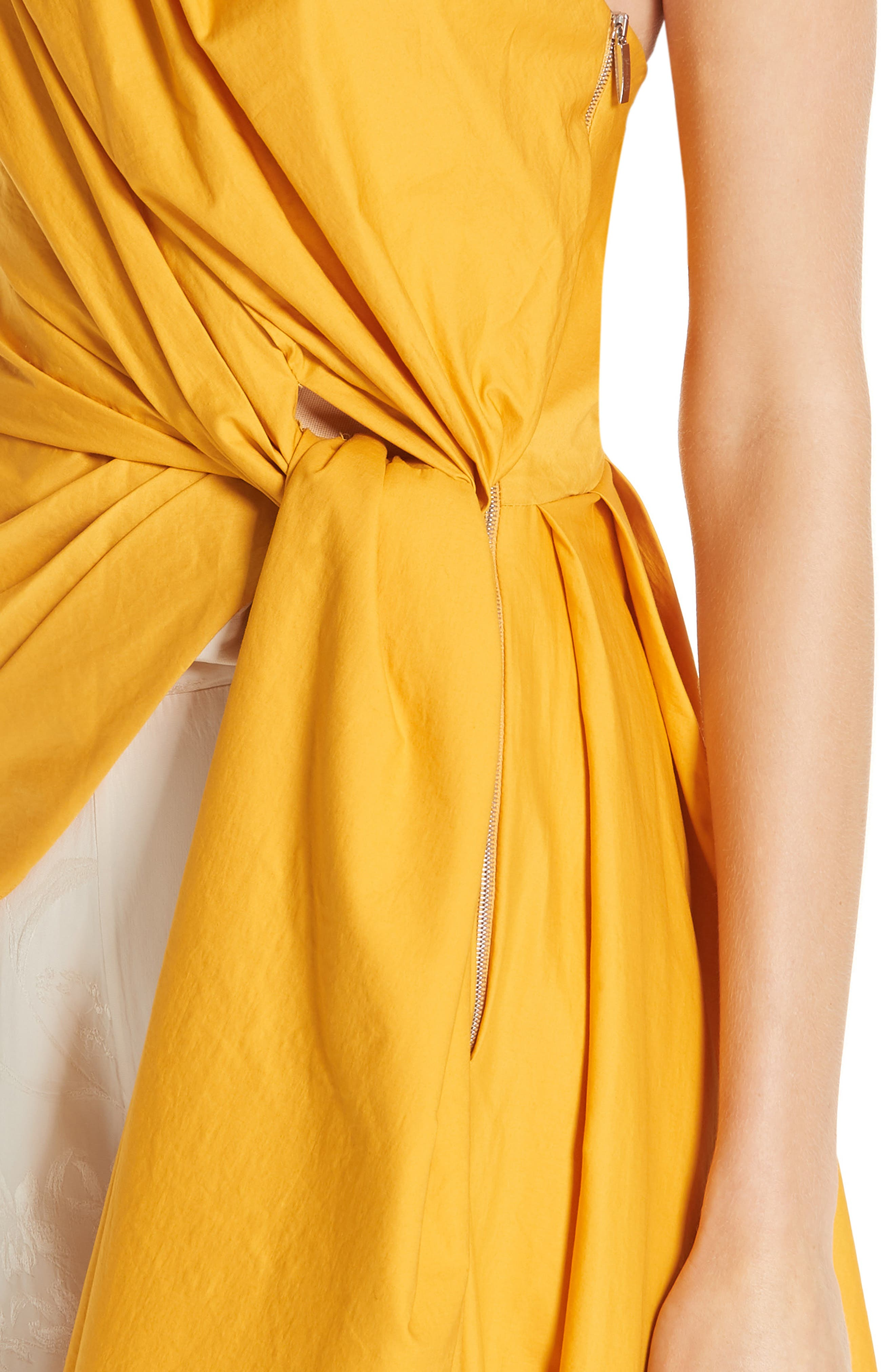 JOHANNA ORTIZ, One-Shoulder Asymmetrical Stretch Poplin Top, Alternate thumbnail 4, color, DANDELION