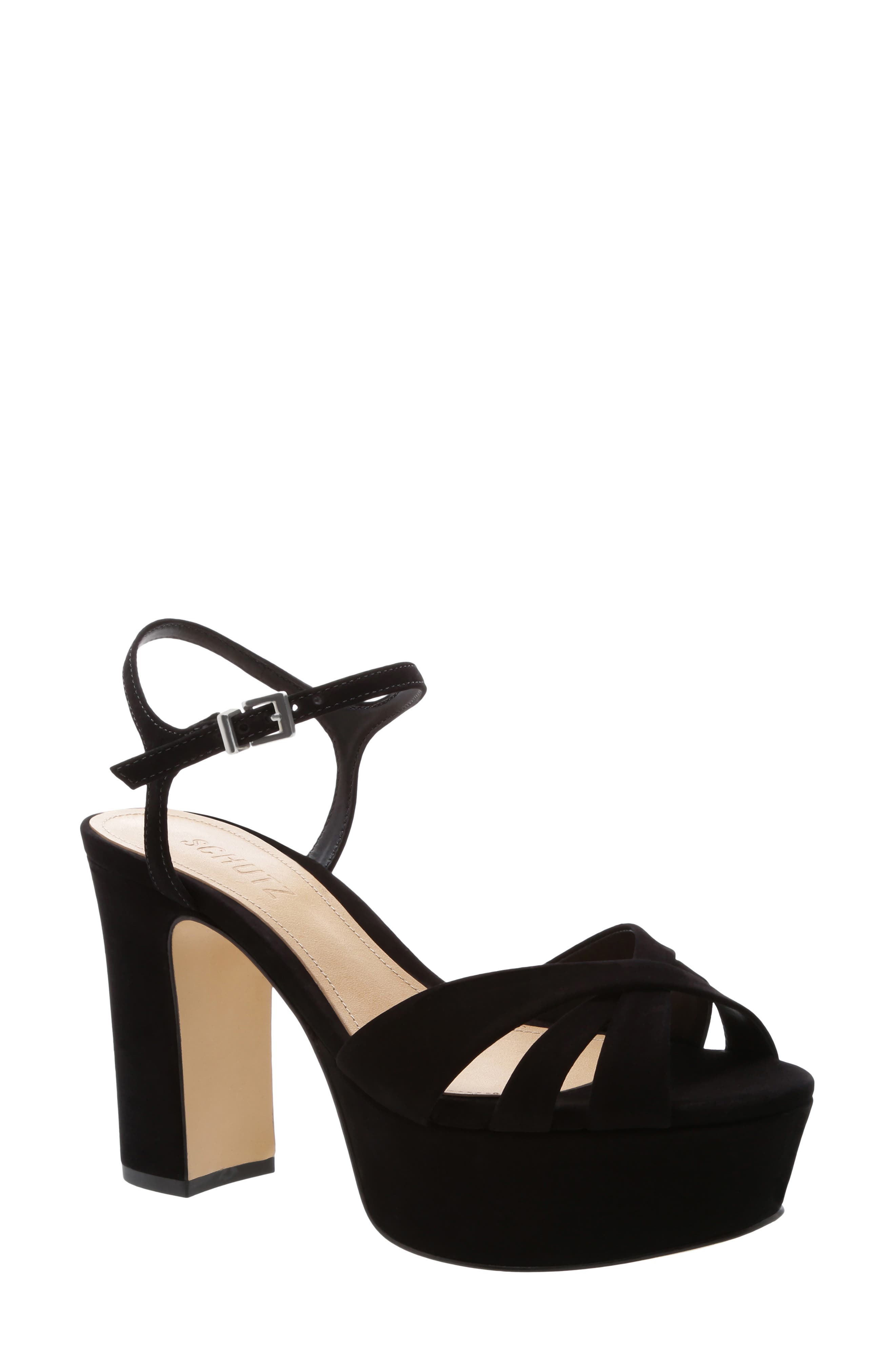 SCHUTZ Keefa Platform Sandal, Main, color, BLACK NUBUCK LEATHER