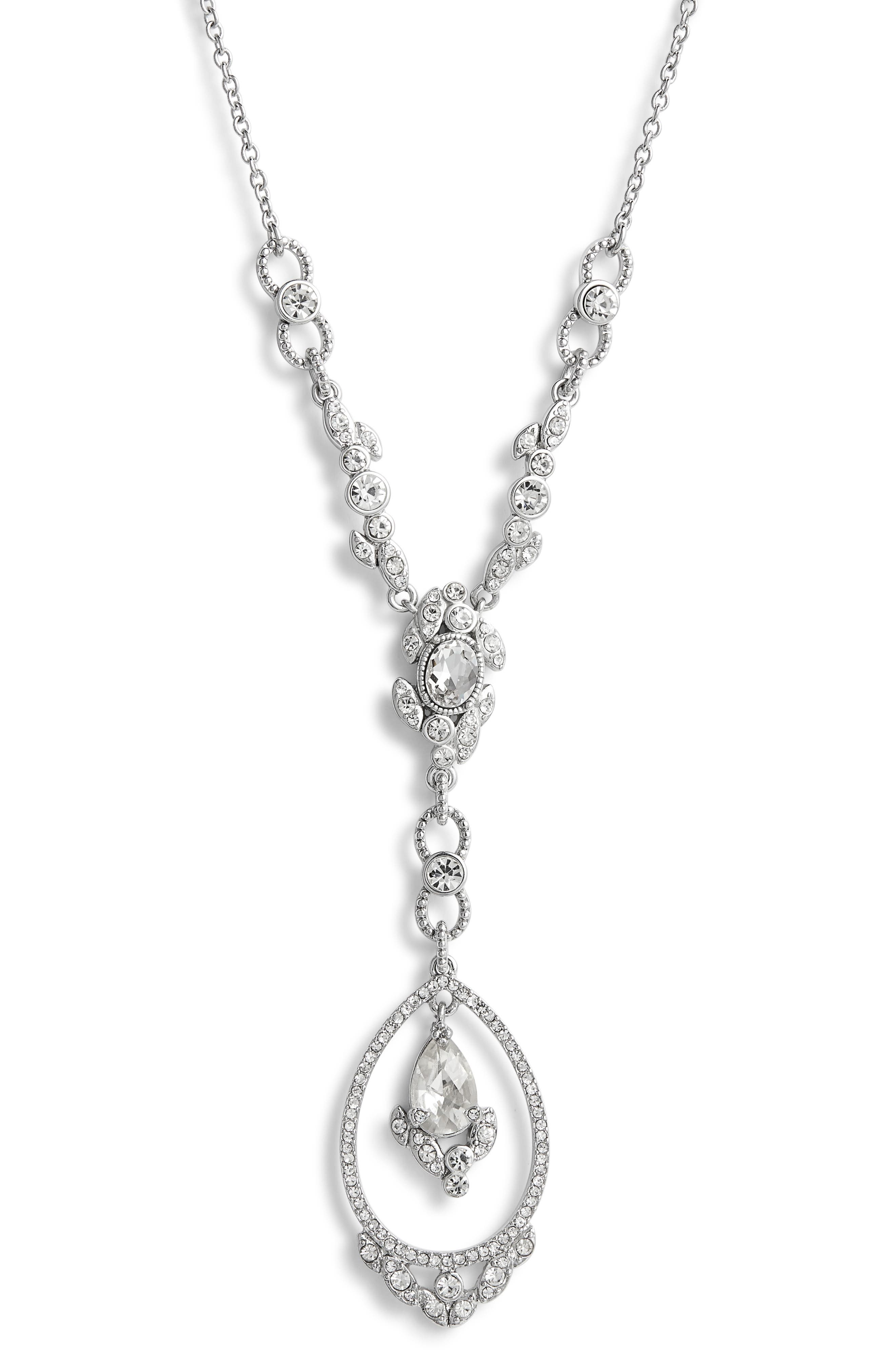 JENNY PACKHAM, Crystal Y-Necklace, Alternate thumbnail 2, color, CRYSTAL
