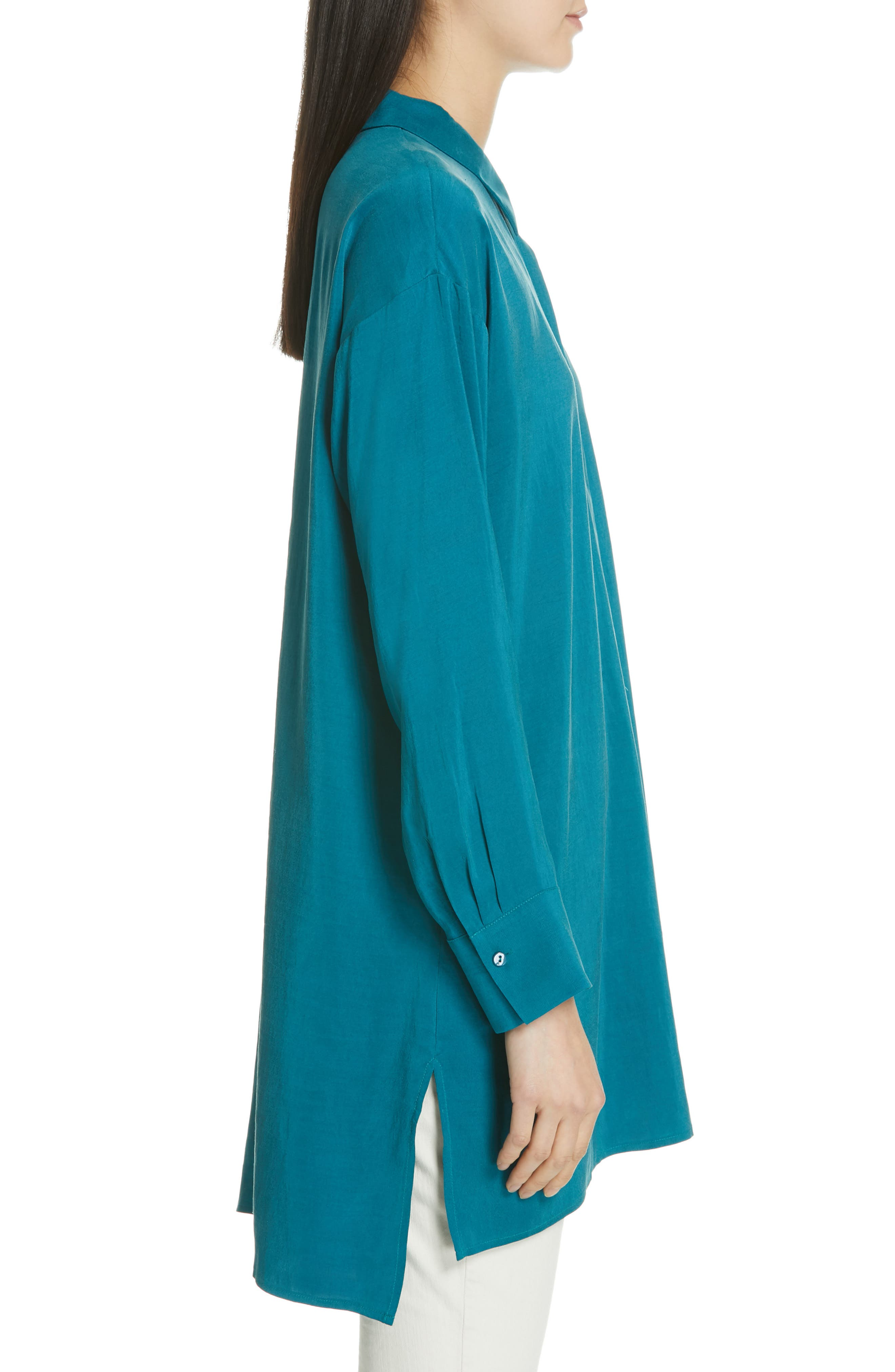 EILEEN FISHER, Long Classic Collar Silk Shirt, Alternate thumbnail 3, color, TEAL