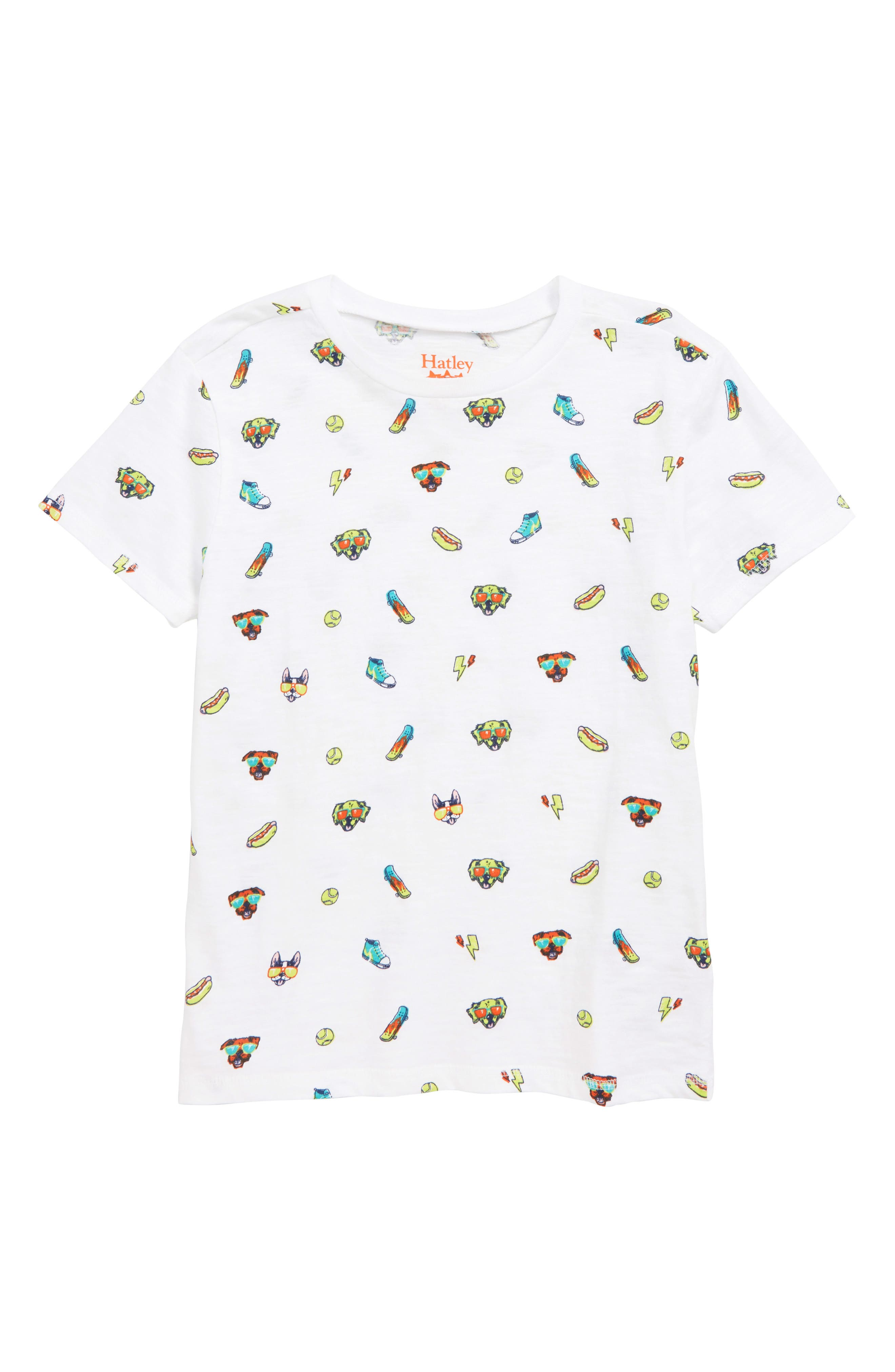 HATLEY, Cool Pups Graphic T-Shirt, Main thumbnail 1, color, WHITE