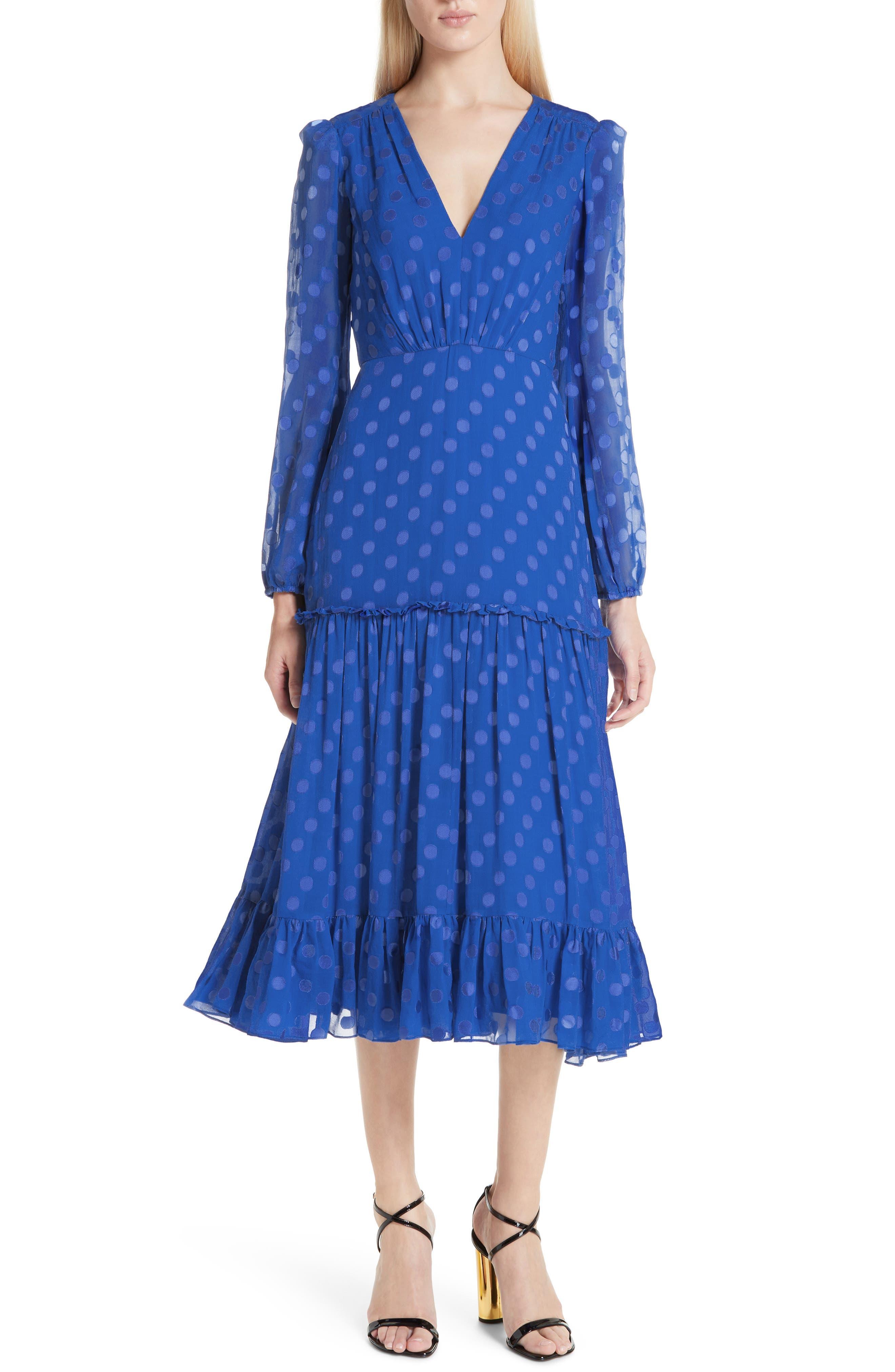 SALONI, Polka Dot Ruffle Dress, Main thumbnail 1, color, COBALT BLUE