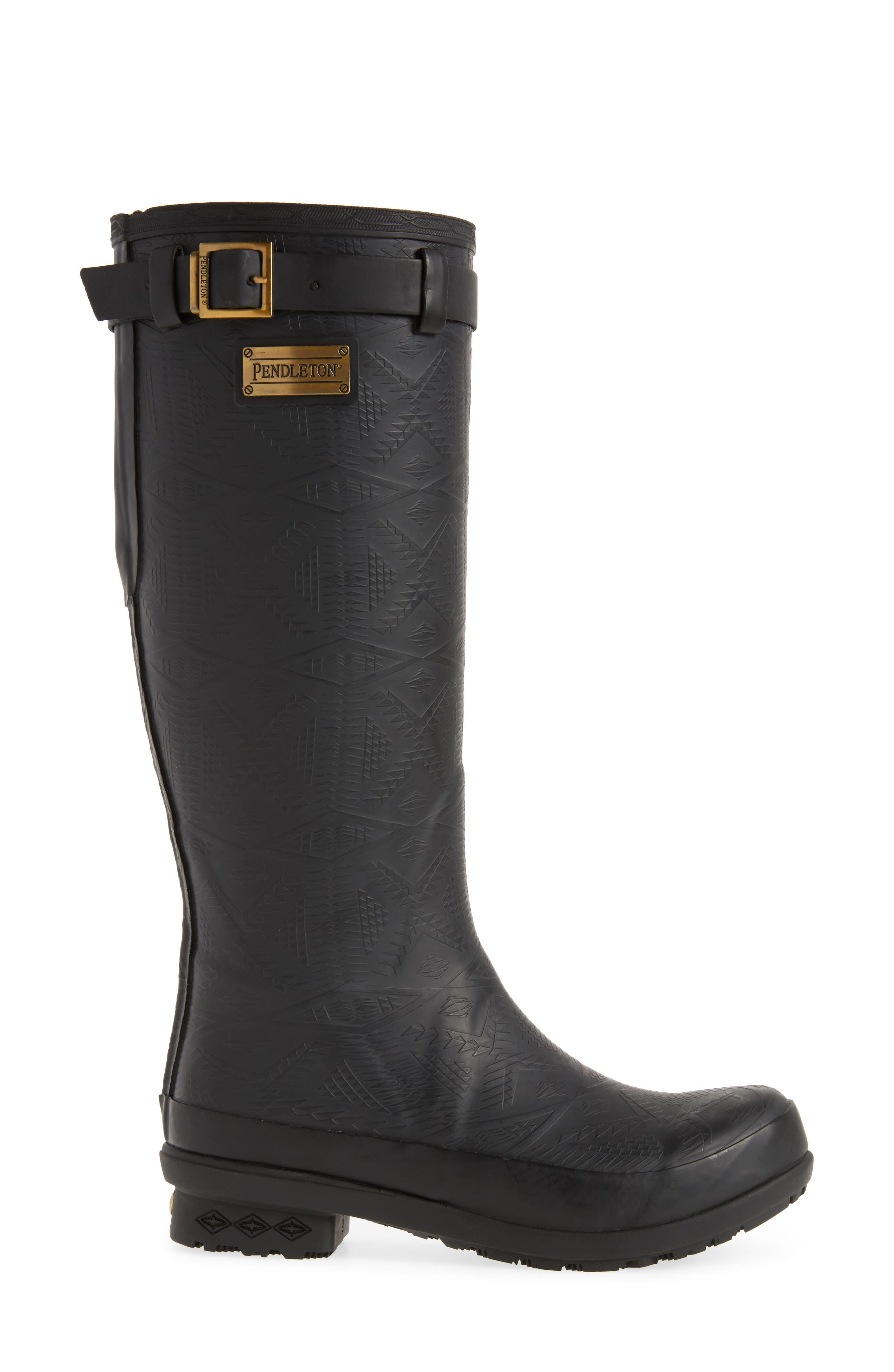 PENDLETON, Embossed Tall Waterproof Rain Boot, Alternate thumbnail 3, color, BLACK