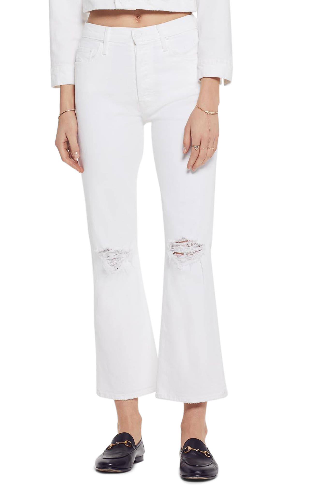 MOTHER, The Tripper High Waist Crop Bootcut Jeans, Main thumbnail 1, color, ALMOST INNOCENT