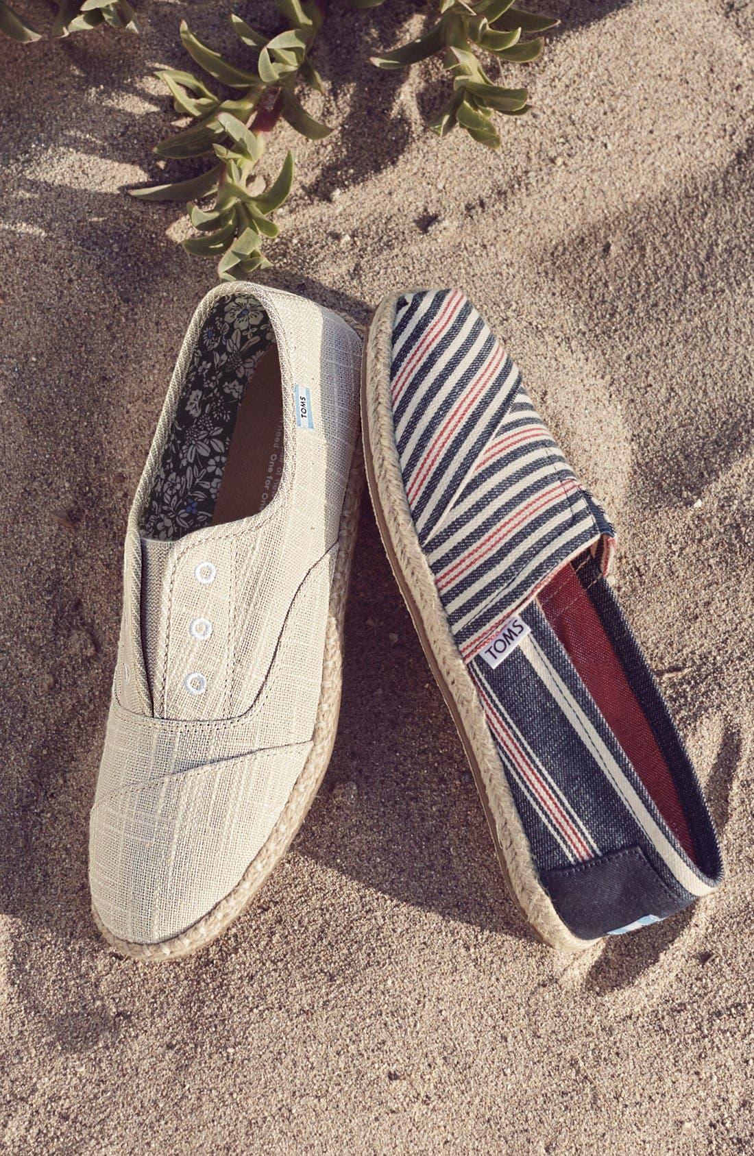 TOMS, Stripe Espadrille Slip-On, Alternate thumbnail 5, color, 200