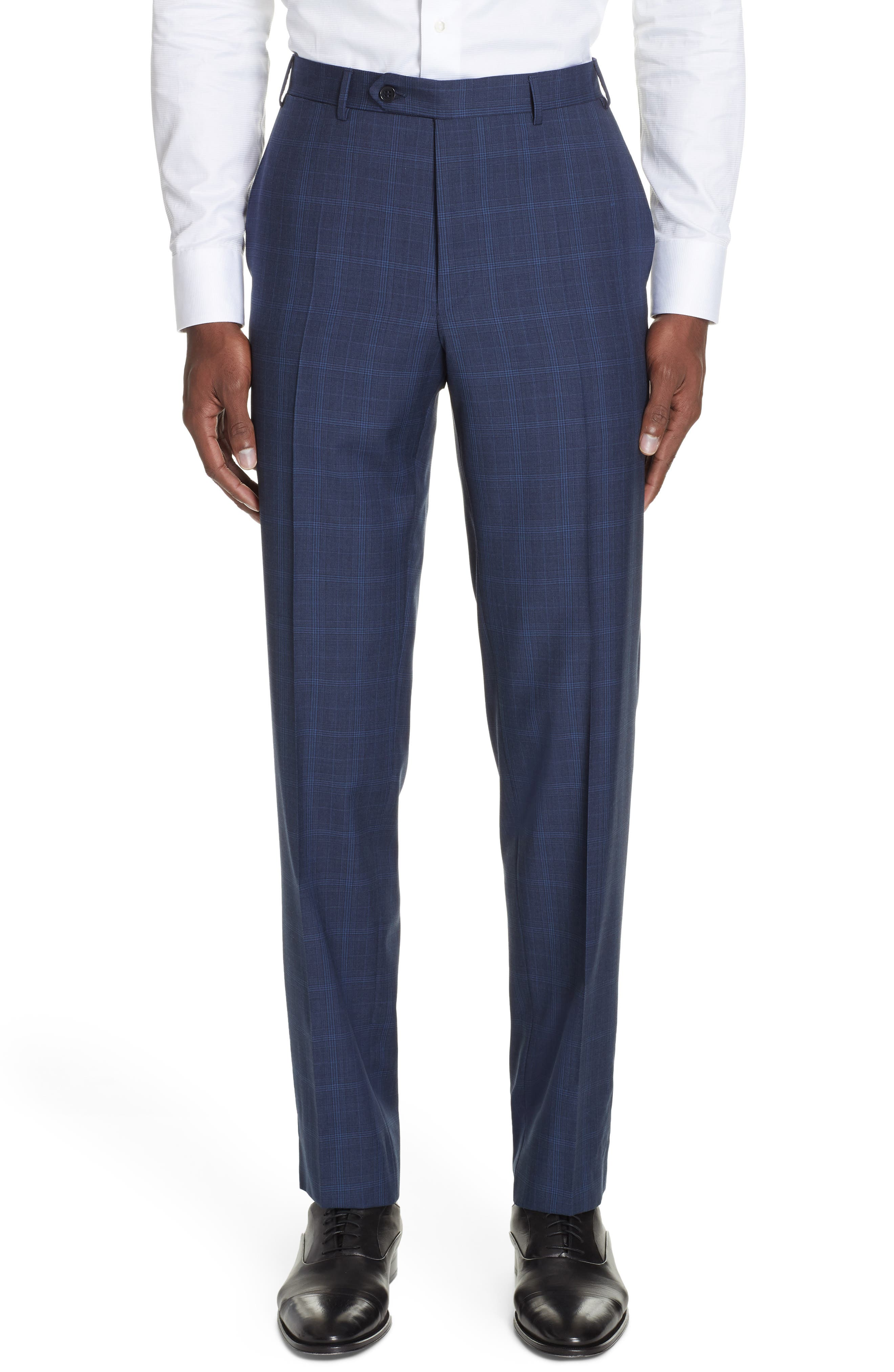CANALI, Sienna Classic Fit Plaid Wool Suit, Alternate thumbnail 6, color, NAVY