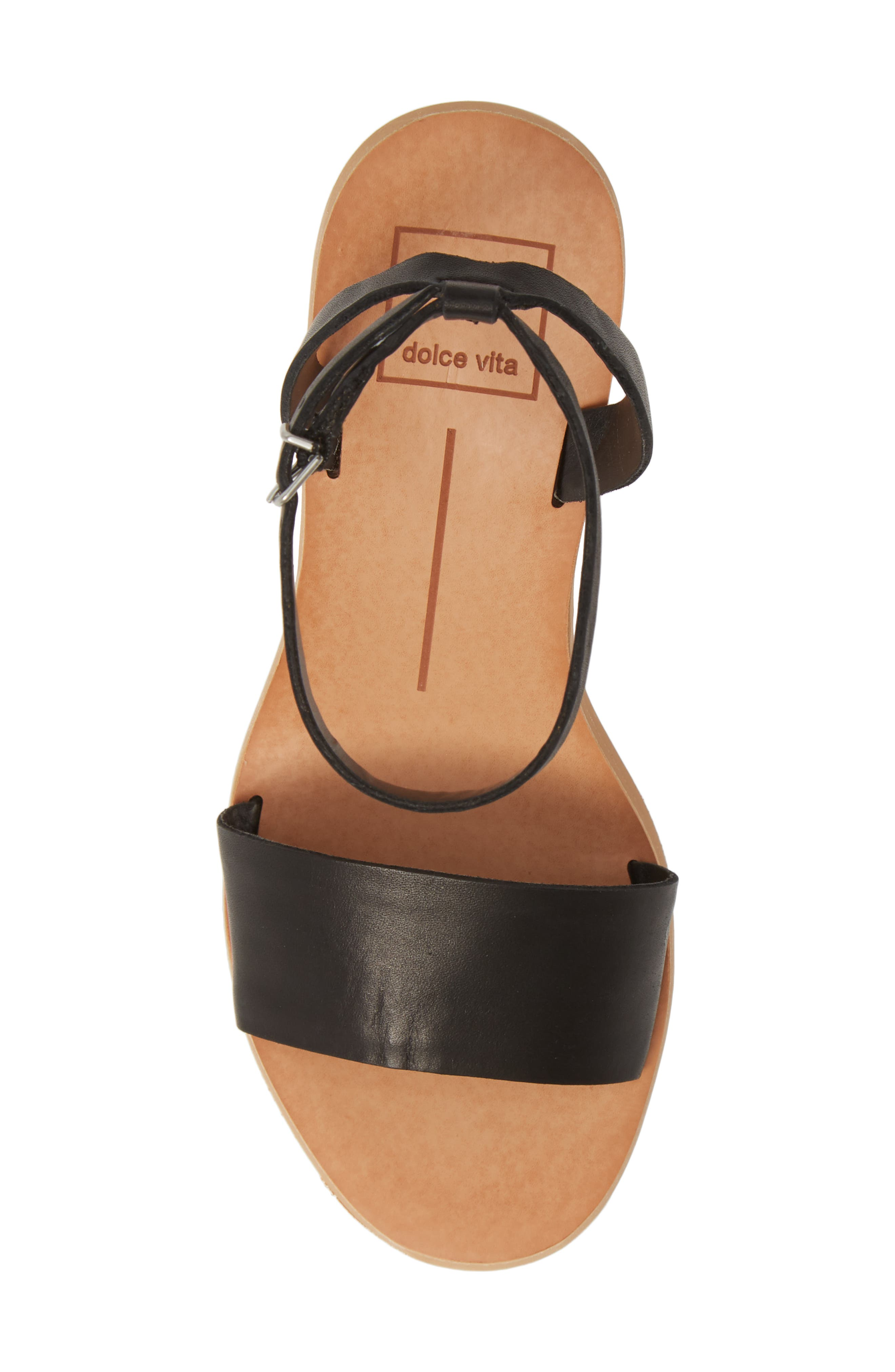 DOLCE VITA, Jali Column Heel Sandal, Alternate thumbnail 5, color, BLACK LEATHER