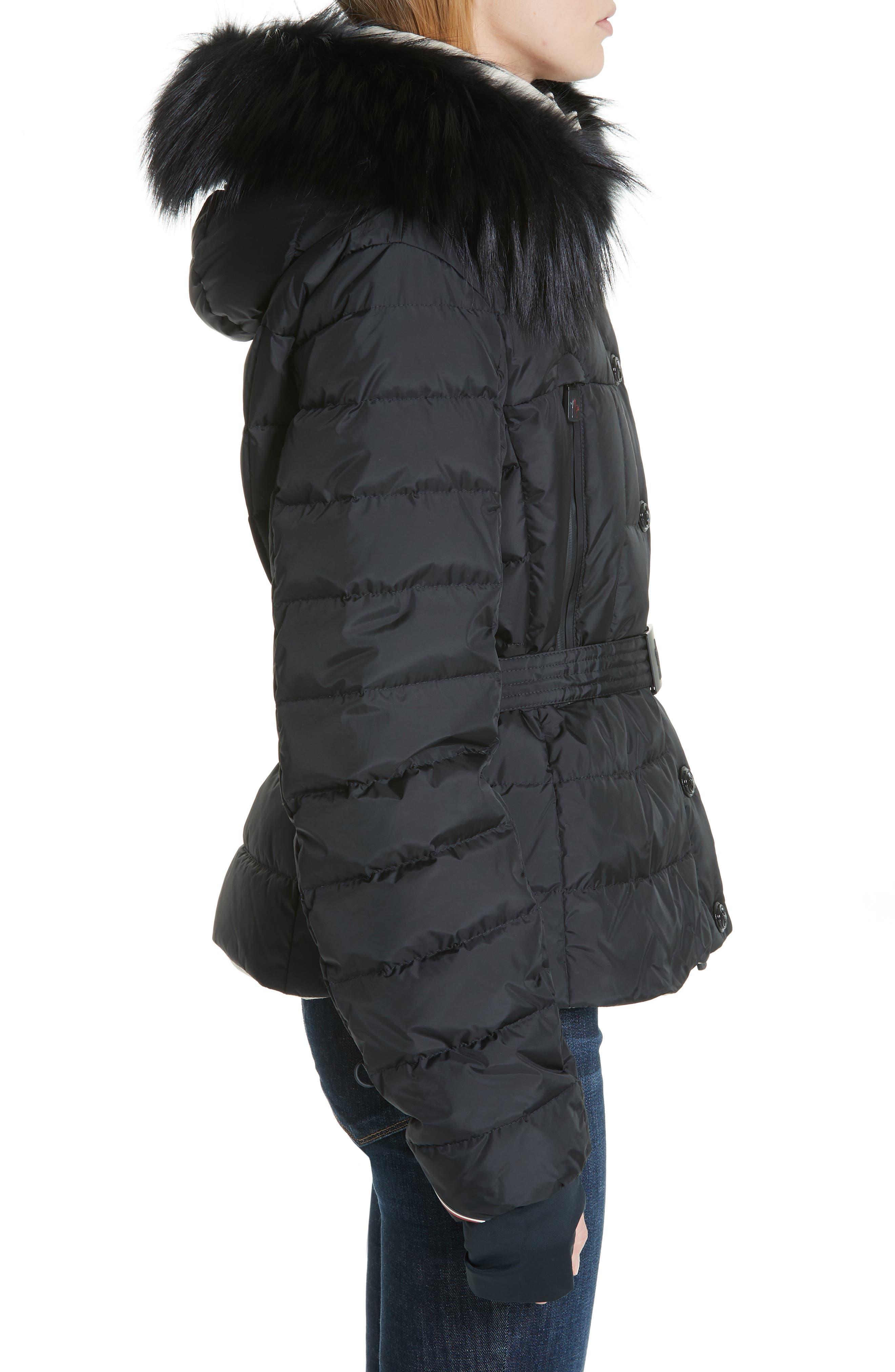 MONCLER, Beverley Genuine Fox Fur Trim Quilted Down Coat, Alternate thumbnail 3, color, 001