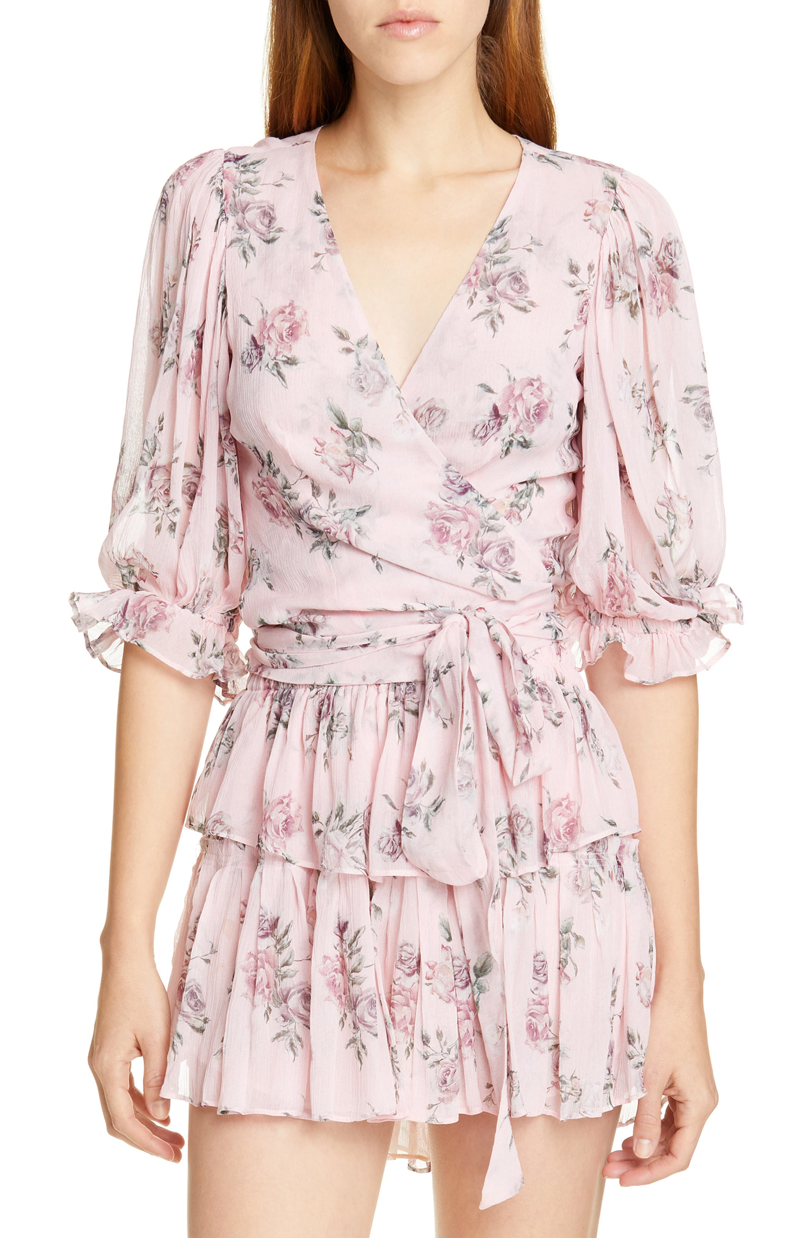 LOVESHACKFANCY Domino Floral Silk Wrap Blouse, Main, color, PINK CANOPY