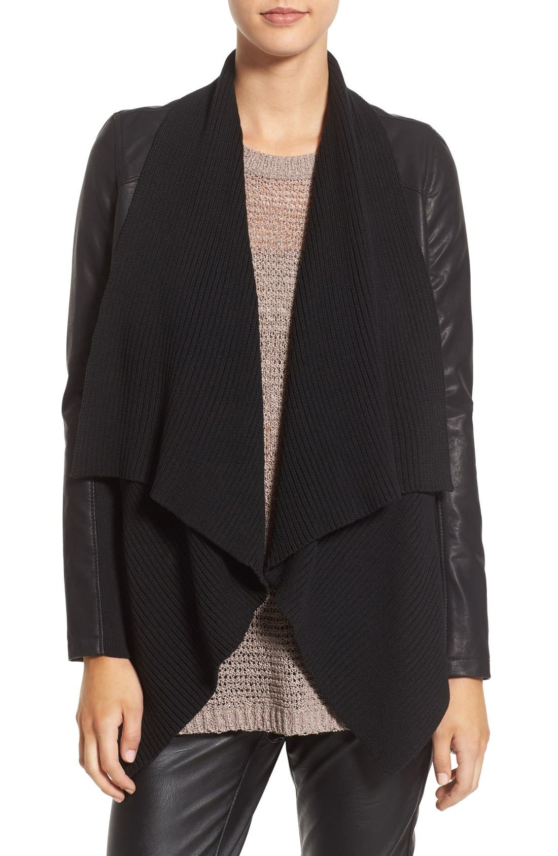 BLANKNYC, All or Nothing Faux Leather Jacket, Main thumbnail 1, color, 001