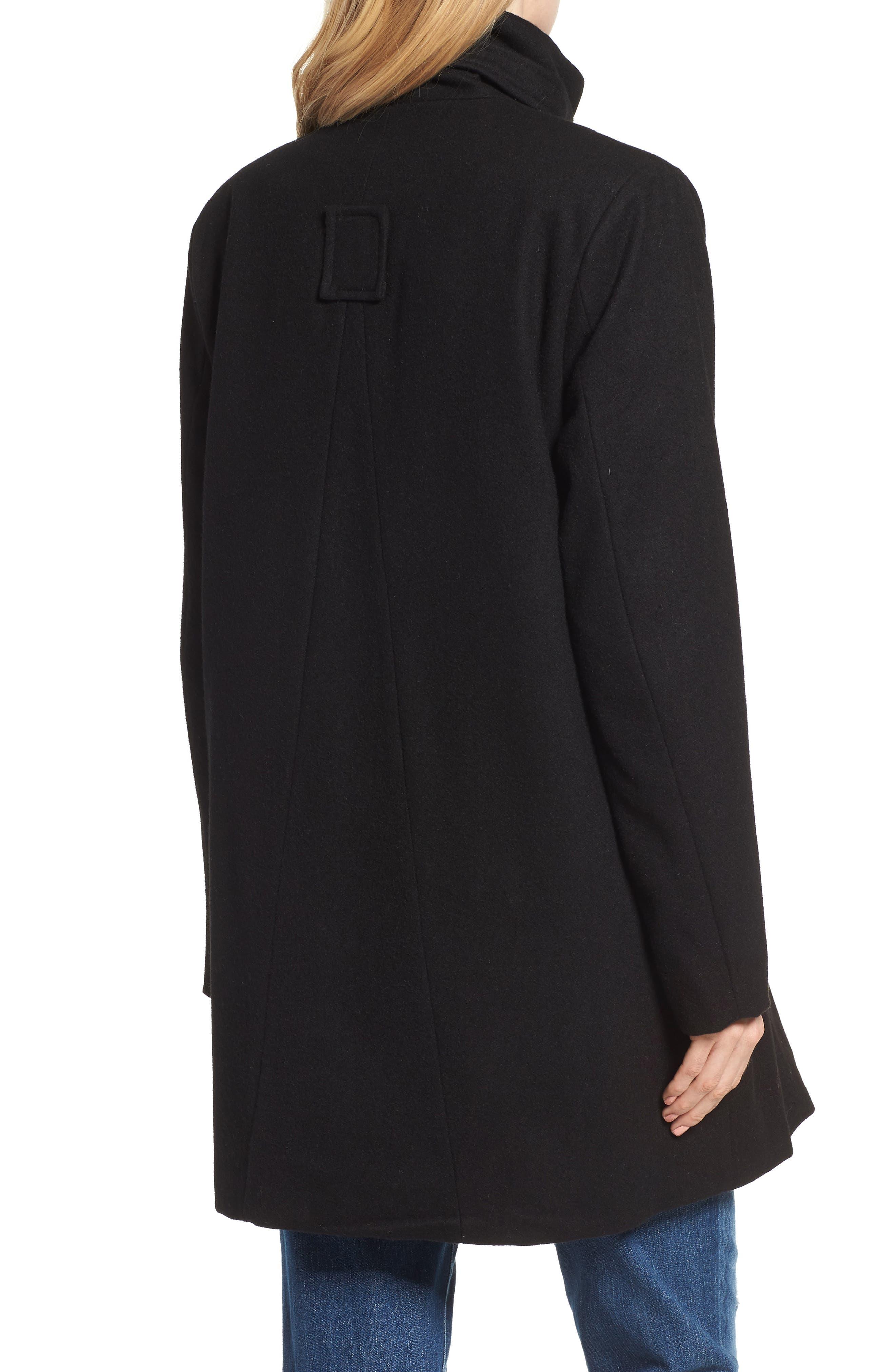 MODERN ETERNITY, Convertible 3-in-1 Maternity/Nursing Coat, Alternate thumbnail 3, color, BLACK