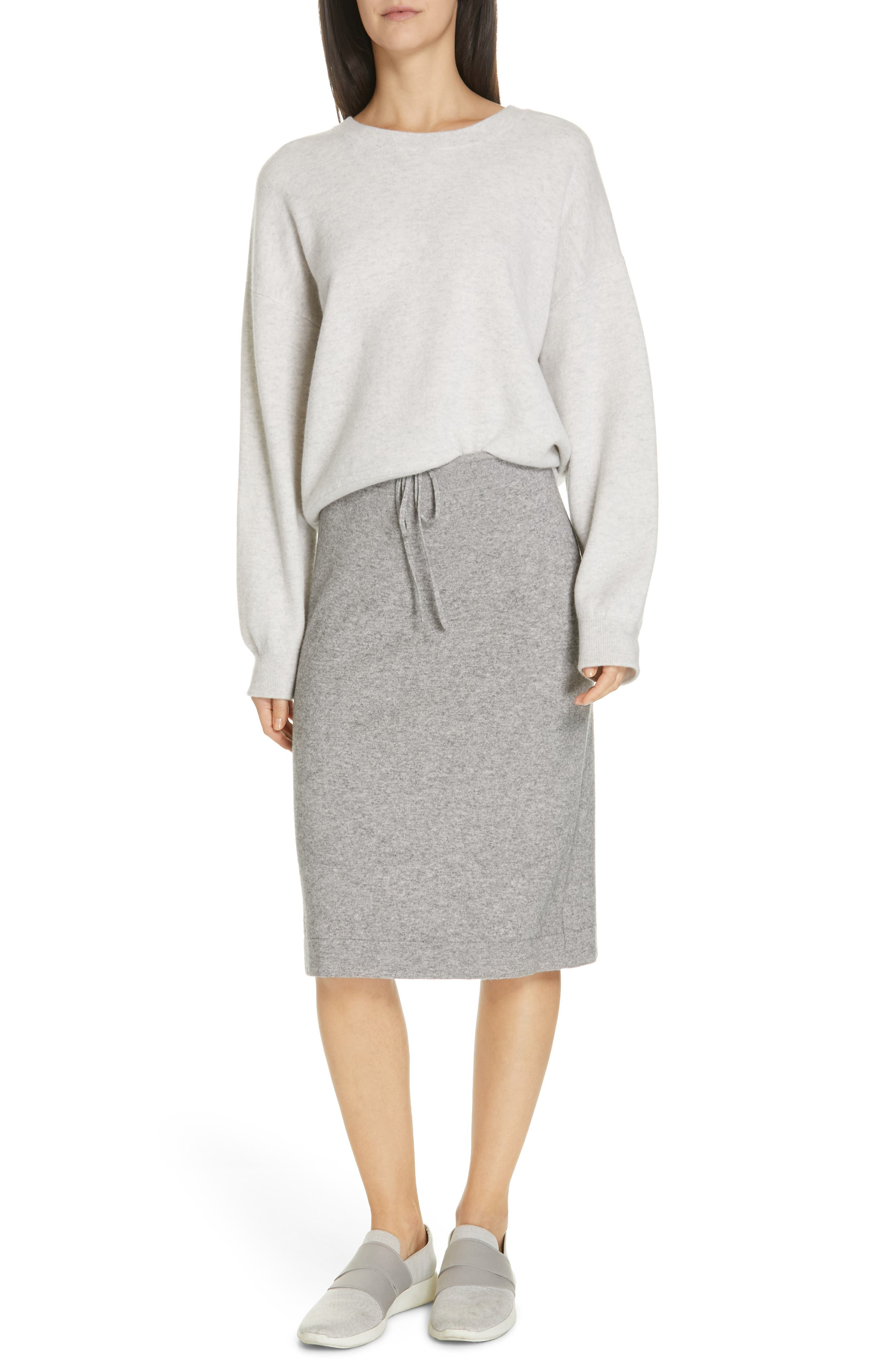 VINCE, Double Layer Sweater, Alternate thumbnail 7, color, H CLOUD/ OPTIC WHITE