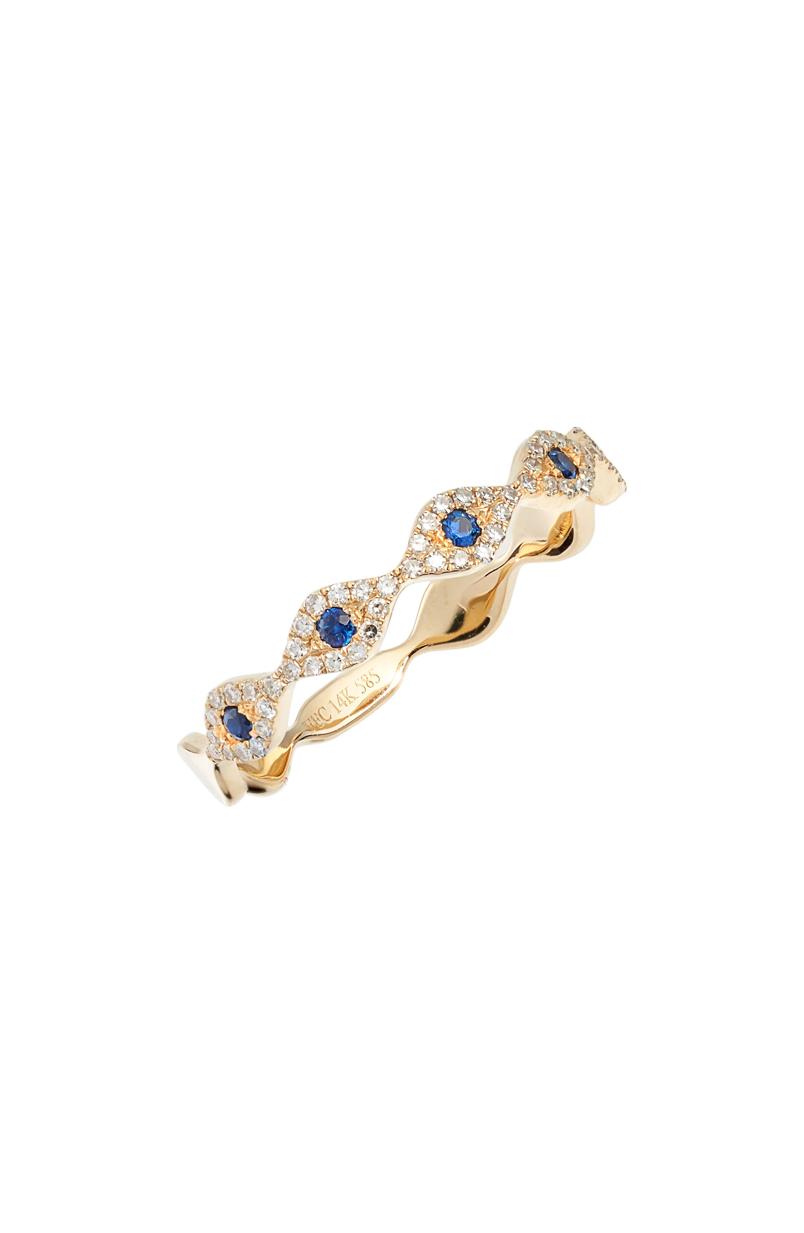 EF COLLECTION, Evil Eye Diamond & Sapphire Stack Ring, Main thumbnail 1, color, YELLOW GOLD/ BLUE SAPPHIRE