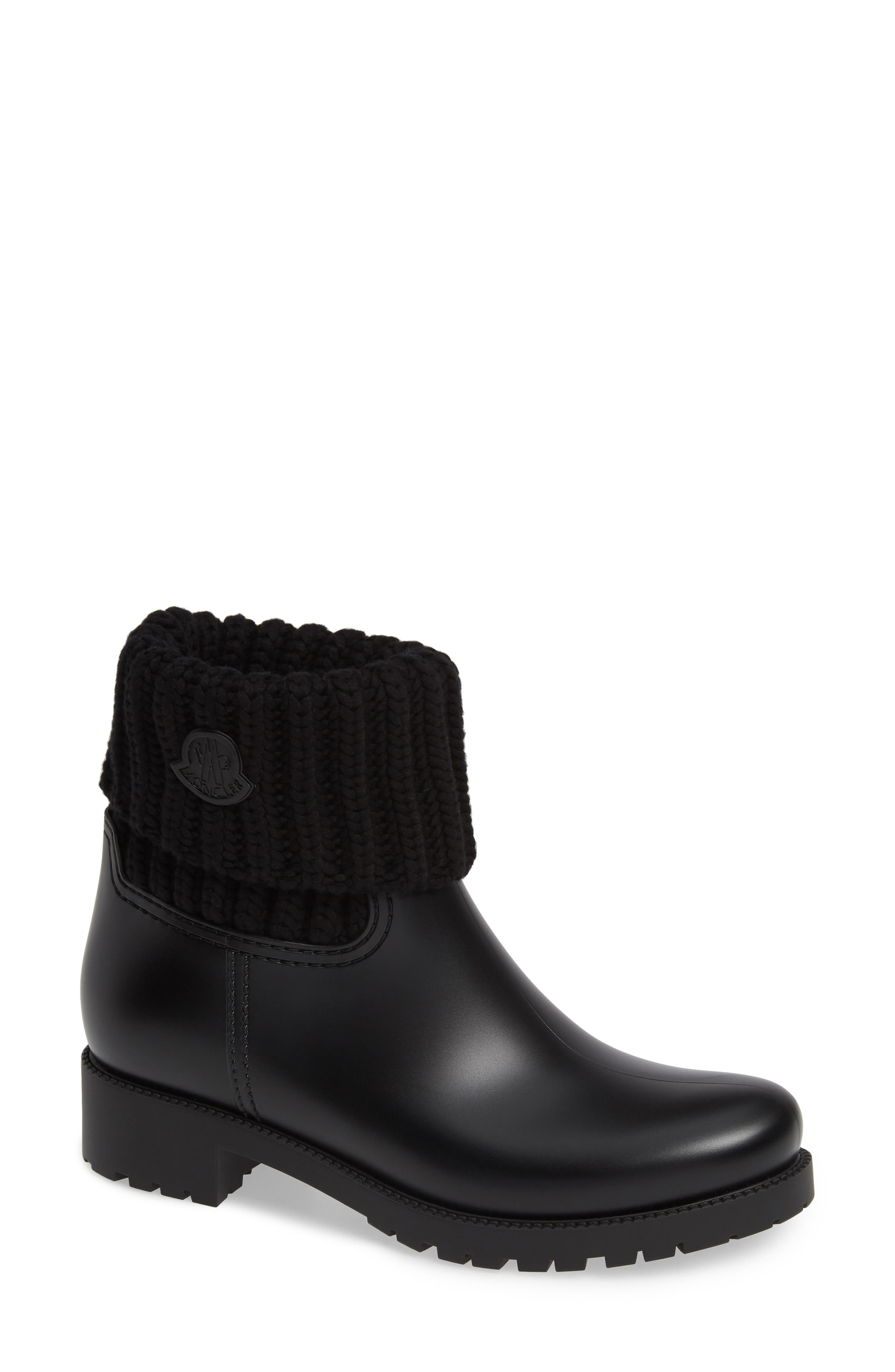MONCLER, Ginette Stivale Knit Cuff Water Resistant Rain Boot, Main thumbnail 1, color, BLACK
