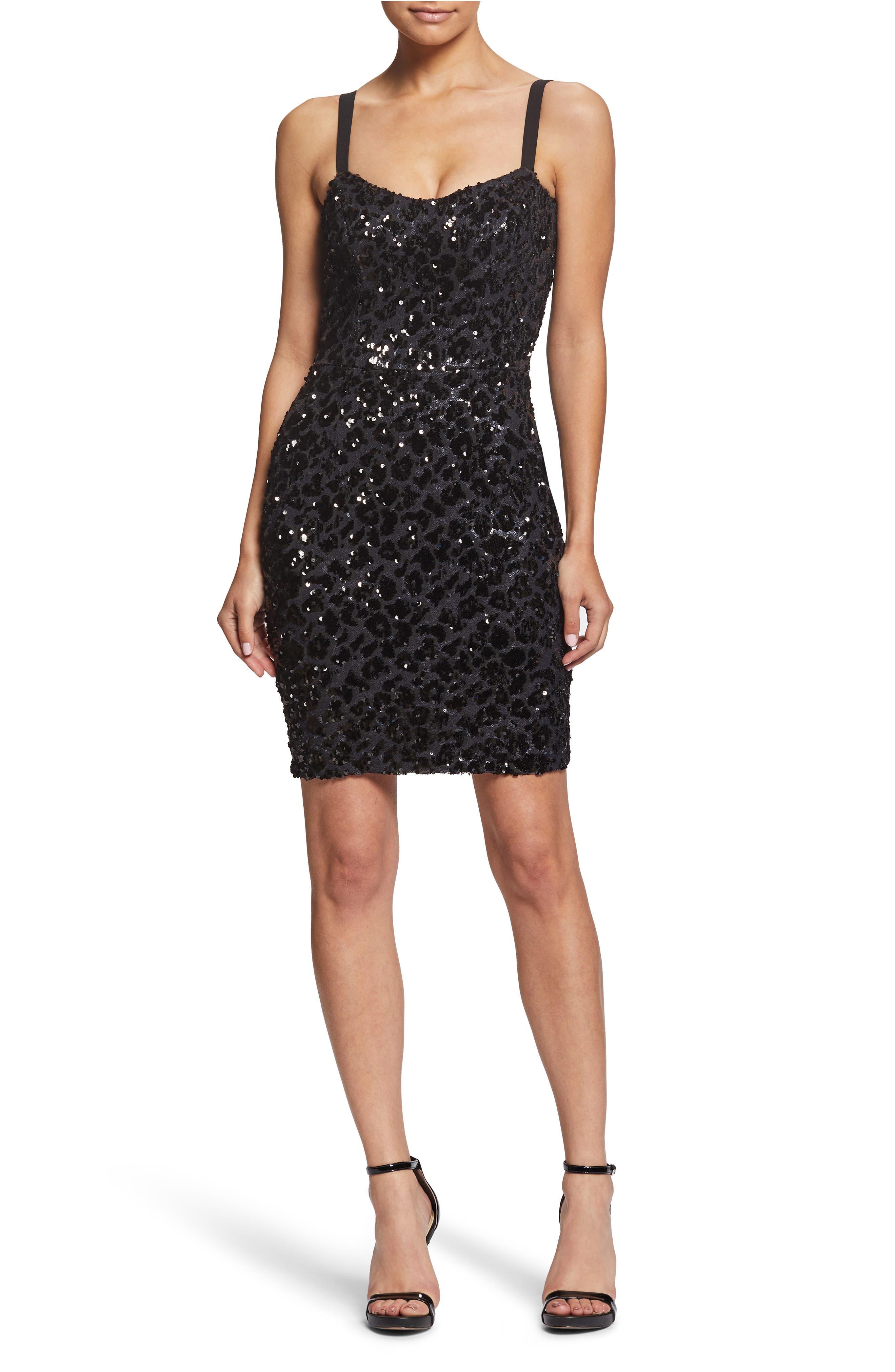 Dress The Population Lindsay Sequin Cheetah Cocktail Sheath Dress, Black