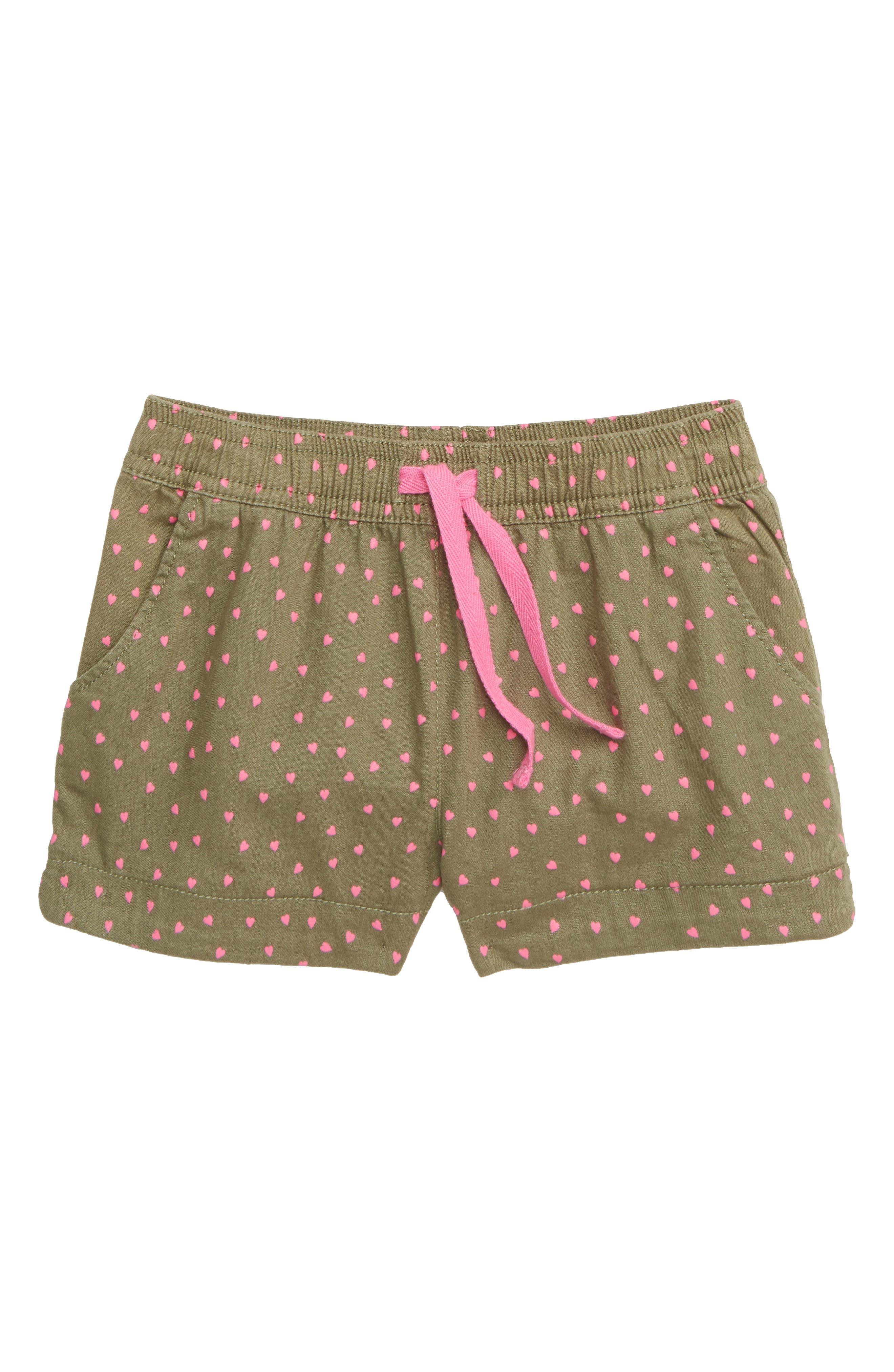 MINI BODEN Heart Pocket Shorts, Main, color, GRN ARMY GREEN SWEET HEARTS