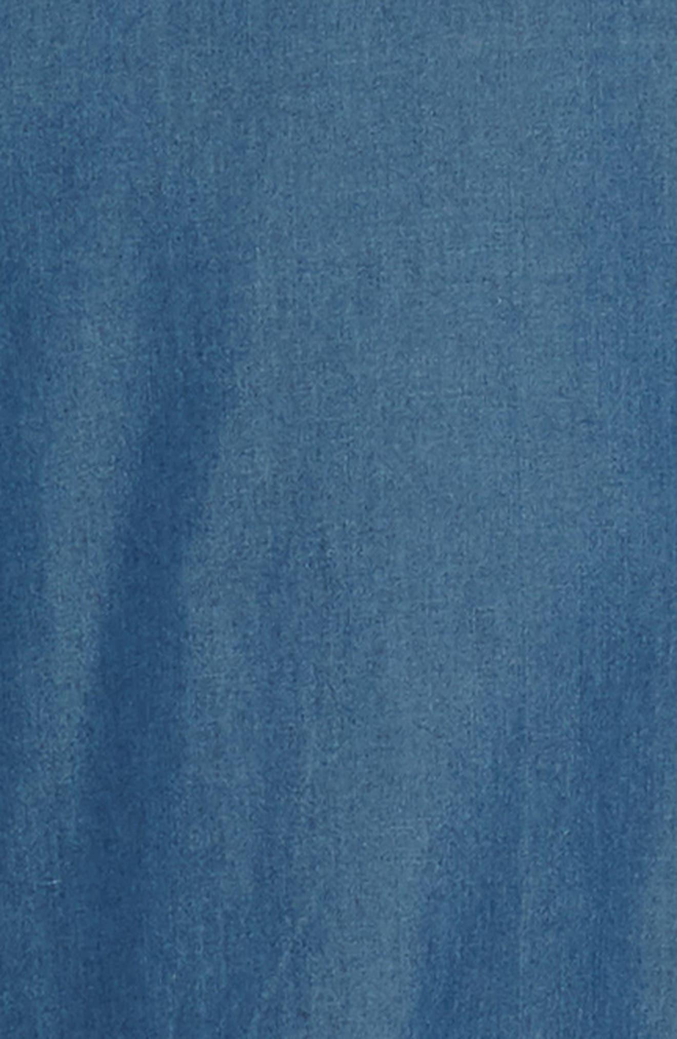 JARED LANG, Slim Fit Chambray Sport Shirt, Alternate thumbnail 6, color, CHAMBRAY