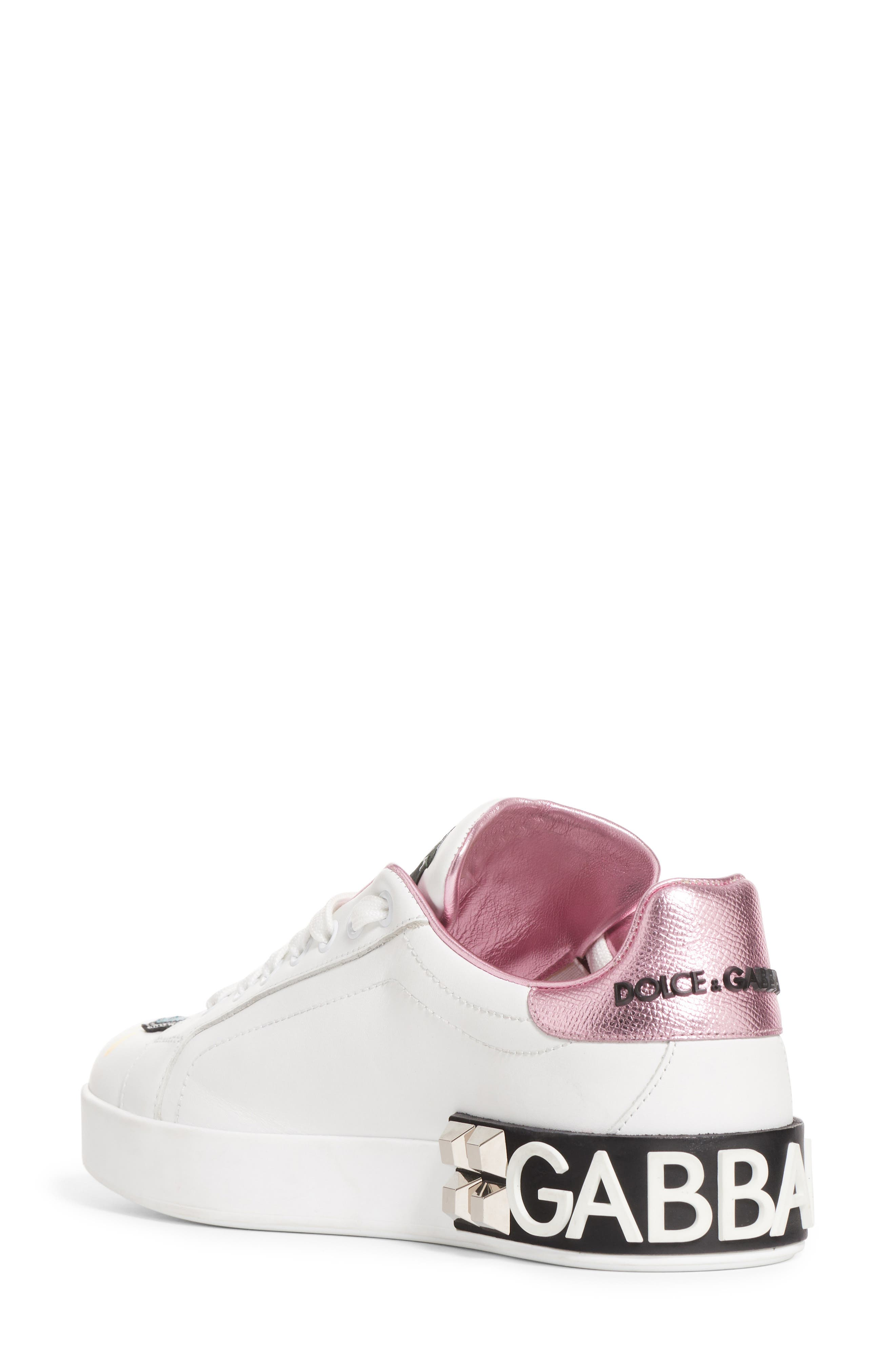DOLCE&GABBANA, Queen Graffiti Lace-Up Sneaker, Alternate thumbnail 2, color, 110