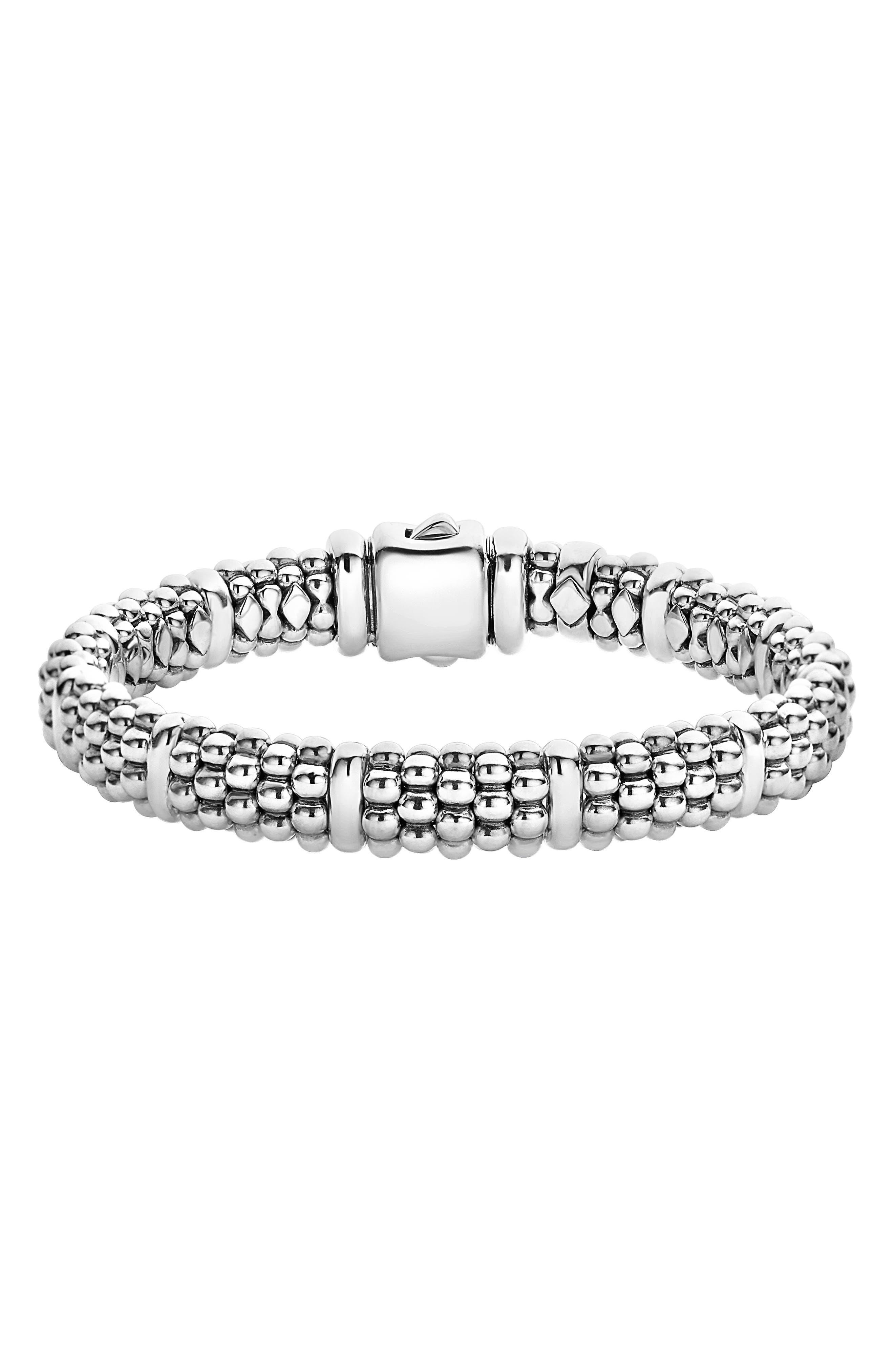 LAGOS, Oval Rope Caviar Bracelet, Main thumbnail 1, color, SILVER