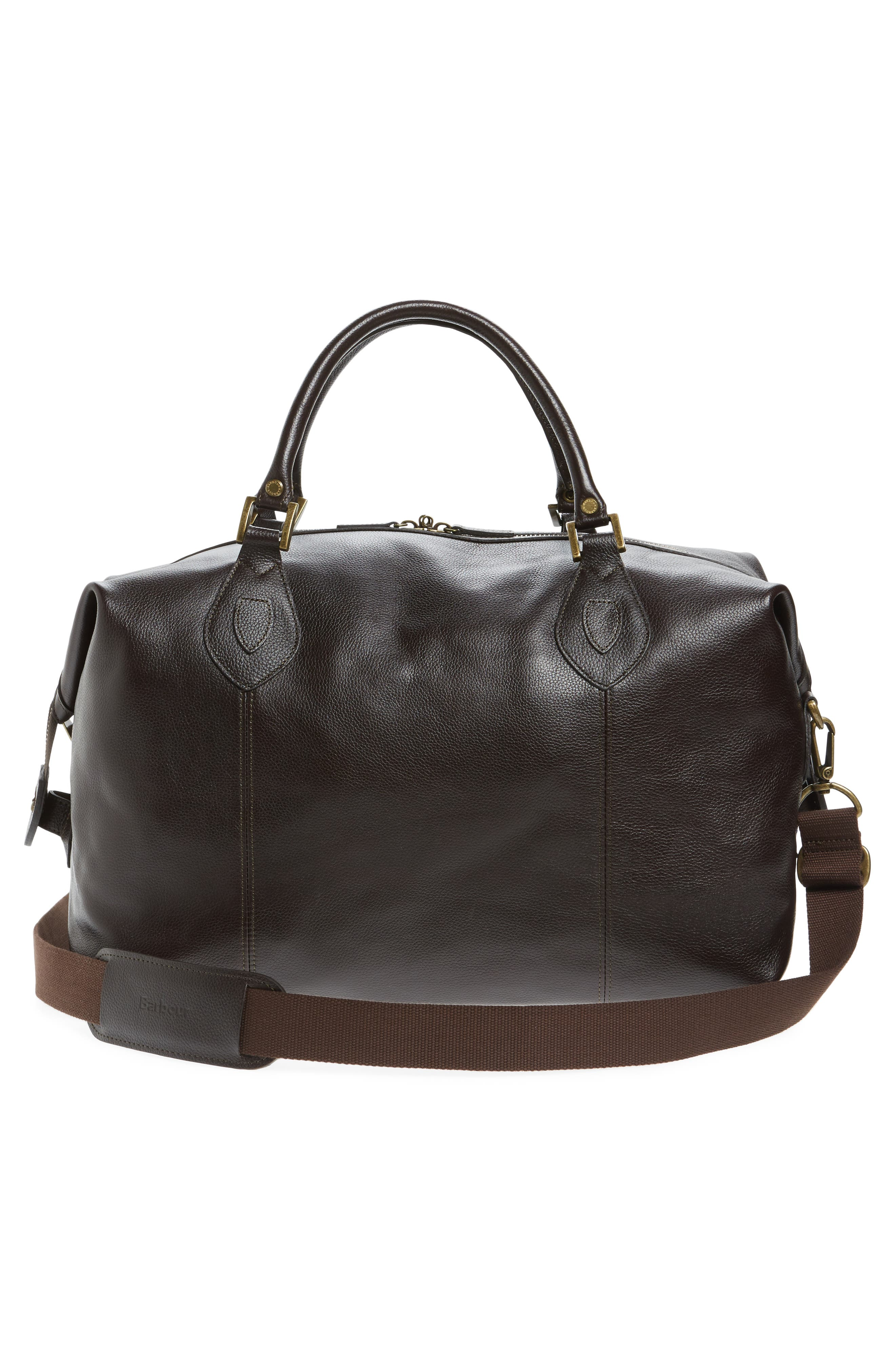 BARBOUR, Leather Travel Bag, Alternate thumbnail 3, color, CHOCOLATE