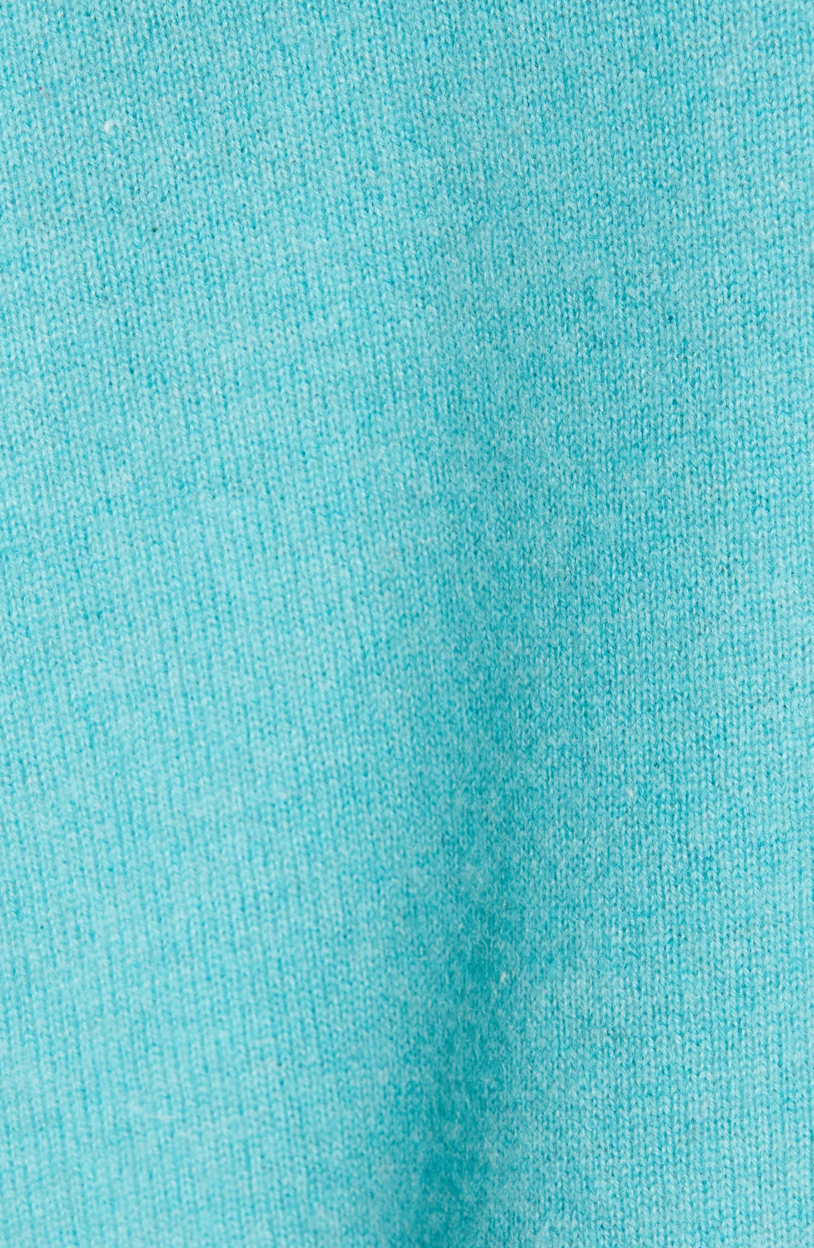 NORDSTROM SIGNATURE, Cashmere Double V-Neck Pullover, Alternate thumbnail 5, color, TEAL PORCELAIN