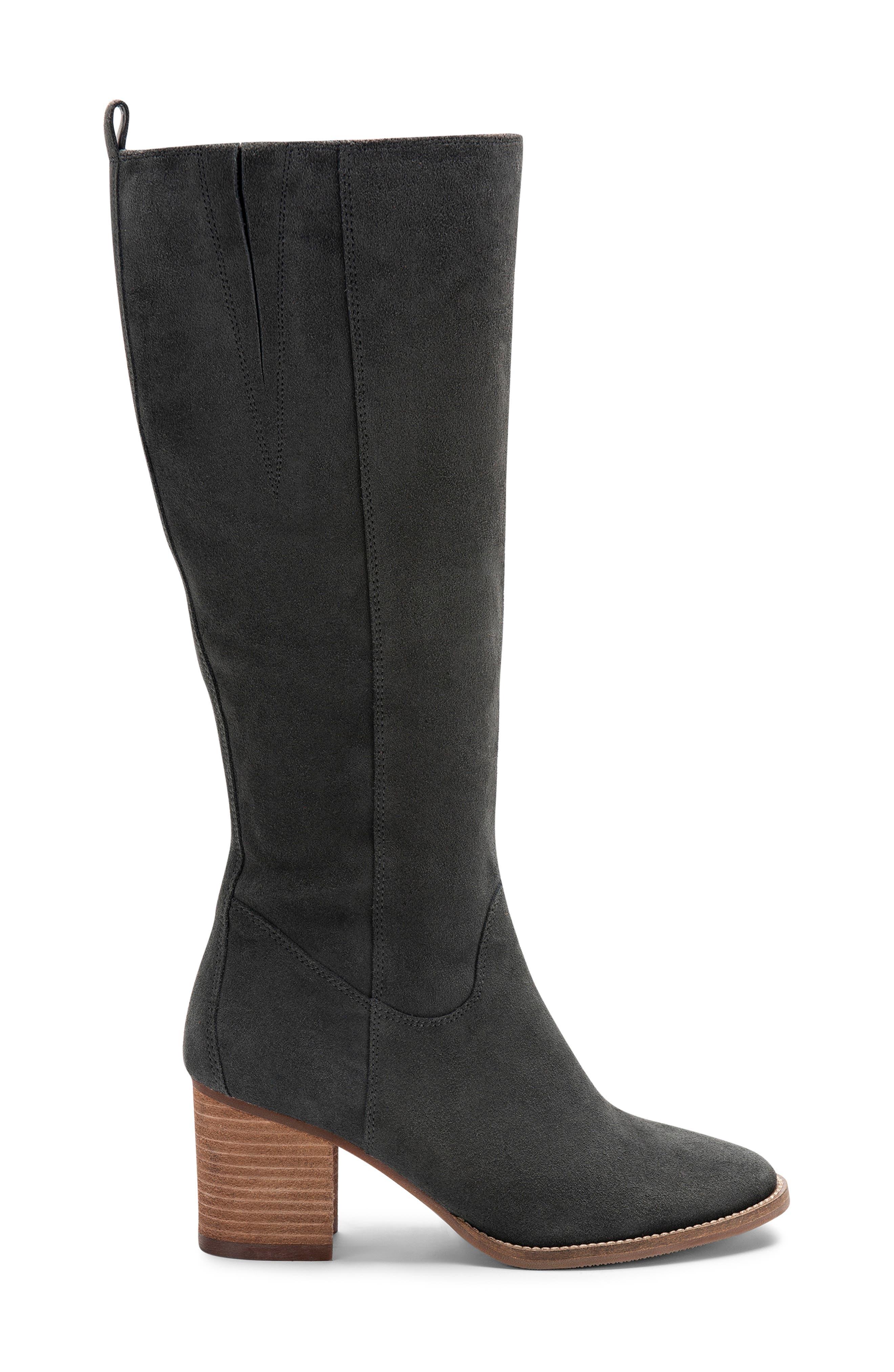 BLONDO, Nikki Waterproof Knee High Waterproof Boot, Alternate thumbnail 3, color, DARK GREY SUEDE