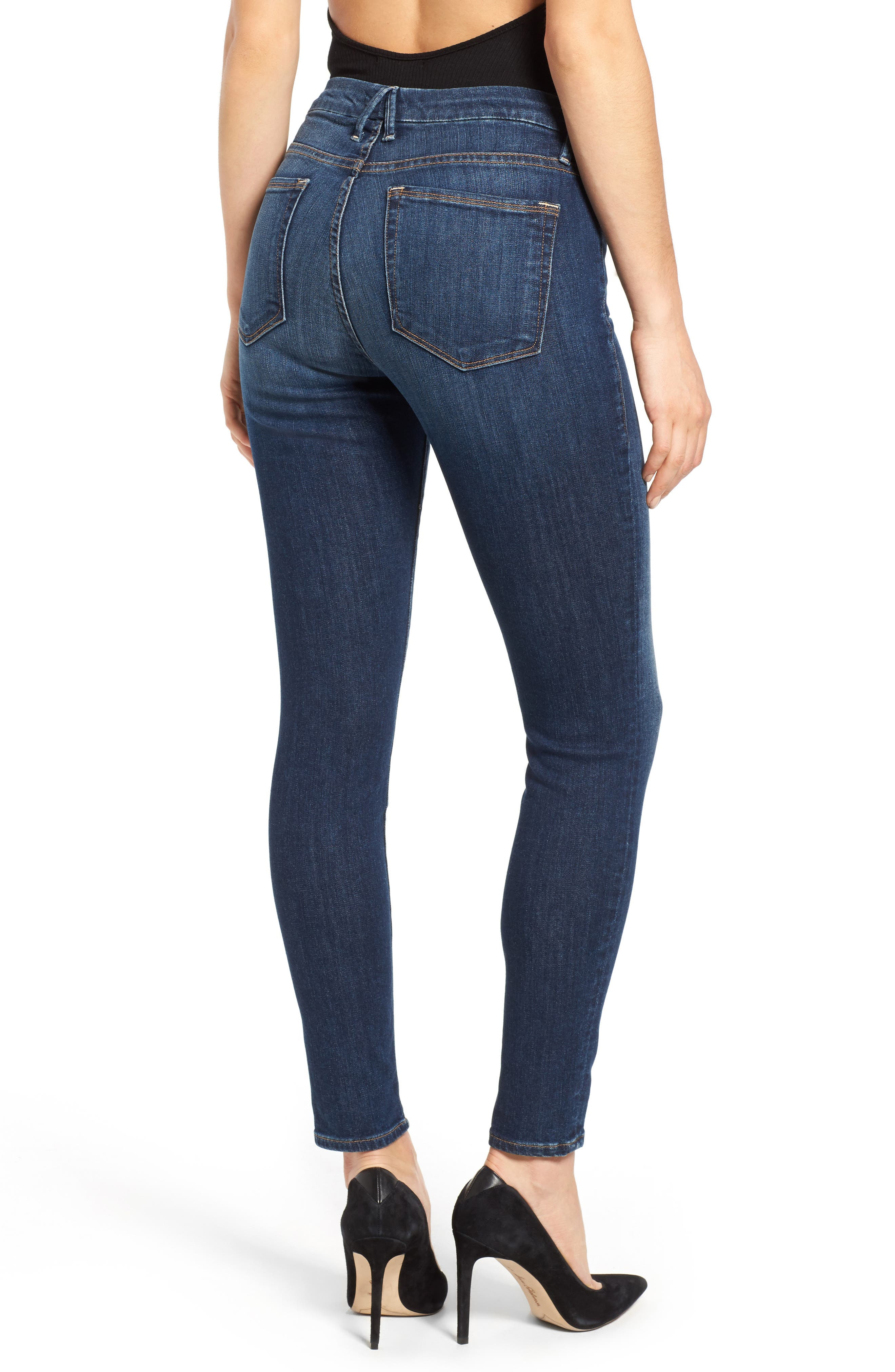 GOOD AMERICAN, Good Legs High Rise Skinny Jeans, Alternate thumbnail 4, color, BLUE 004