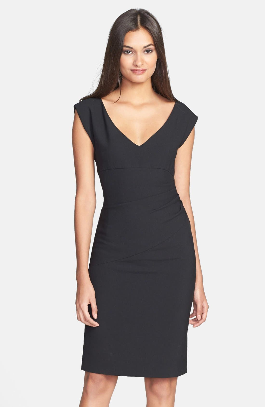 DIANE VON FURSTENBERG, 'Bevin' Ruched Knit Sheath Dress, Main thumbnail 1, color, 001