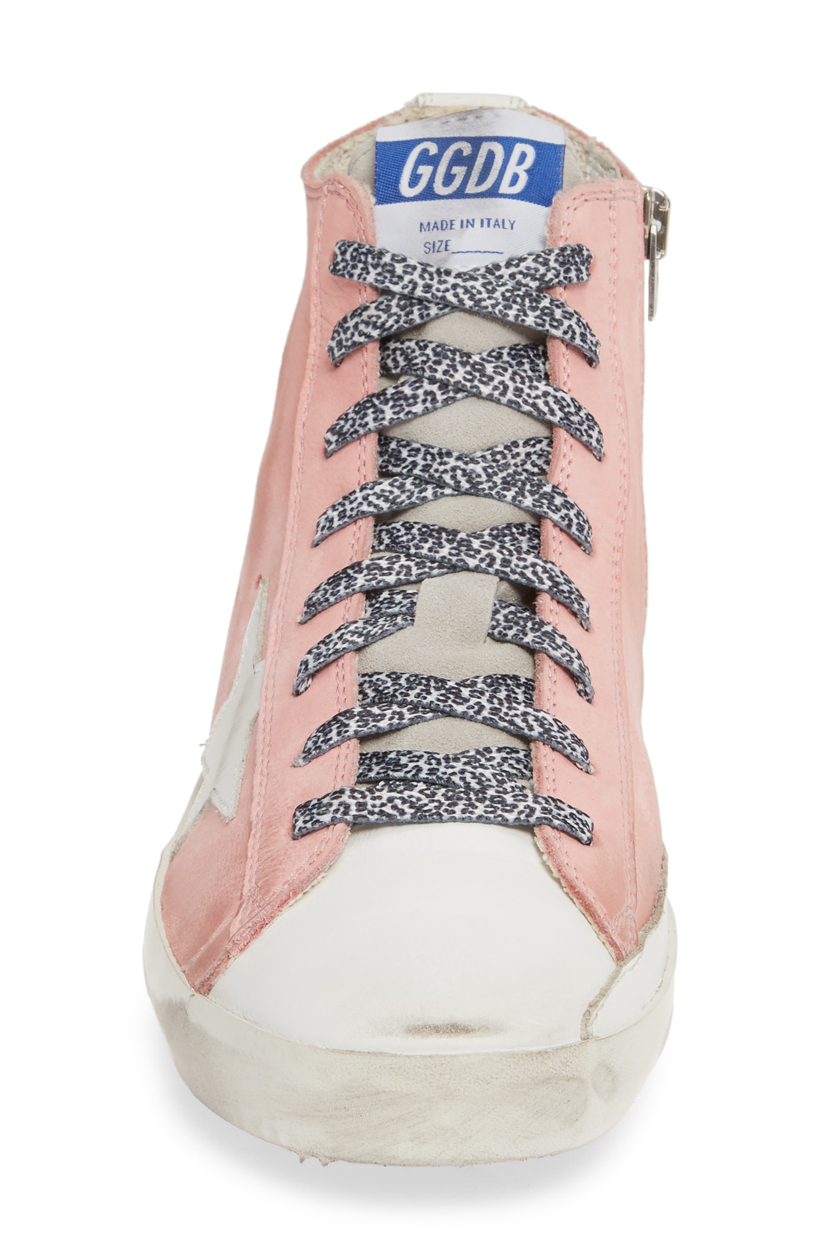 GOLDEN GOOSE, Francy High Top Sneaker, Alternate thumbnail 4, color, PINK PEONY