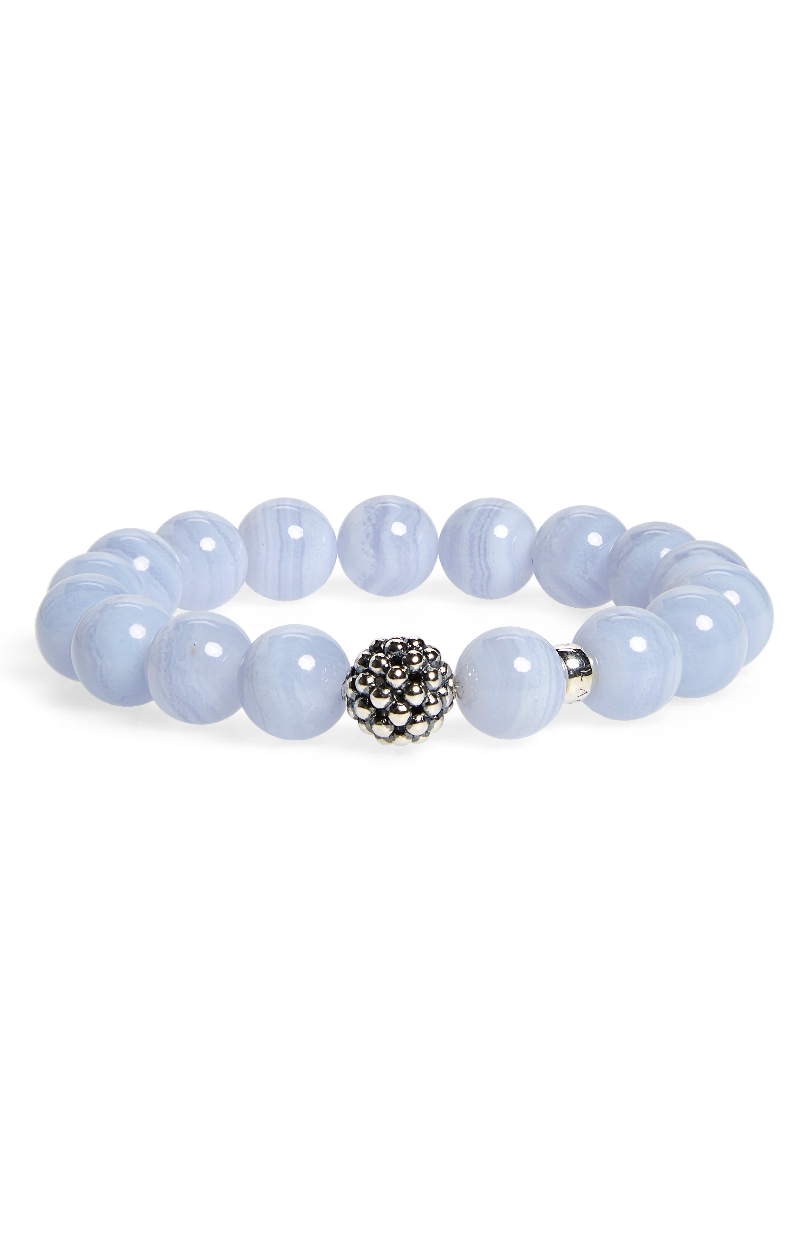 LAGOS, Bead Stretch Bracelet, Alternate thumbnail 2, color, BLUE LACE AGATE