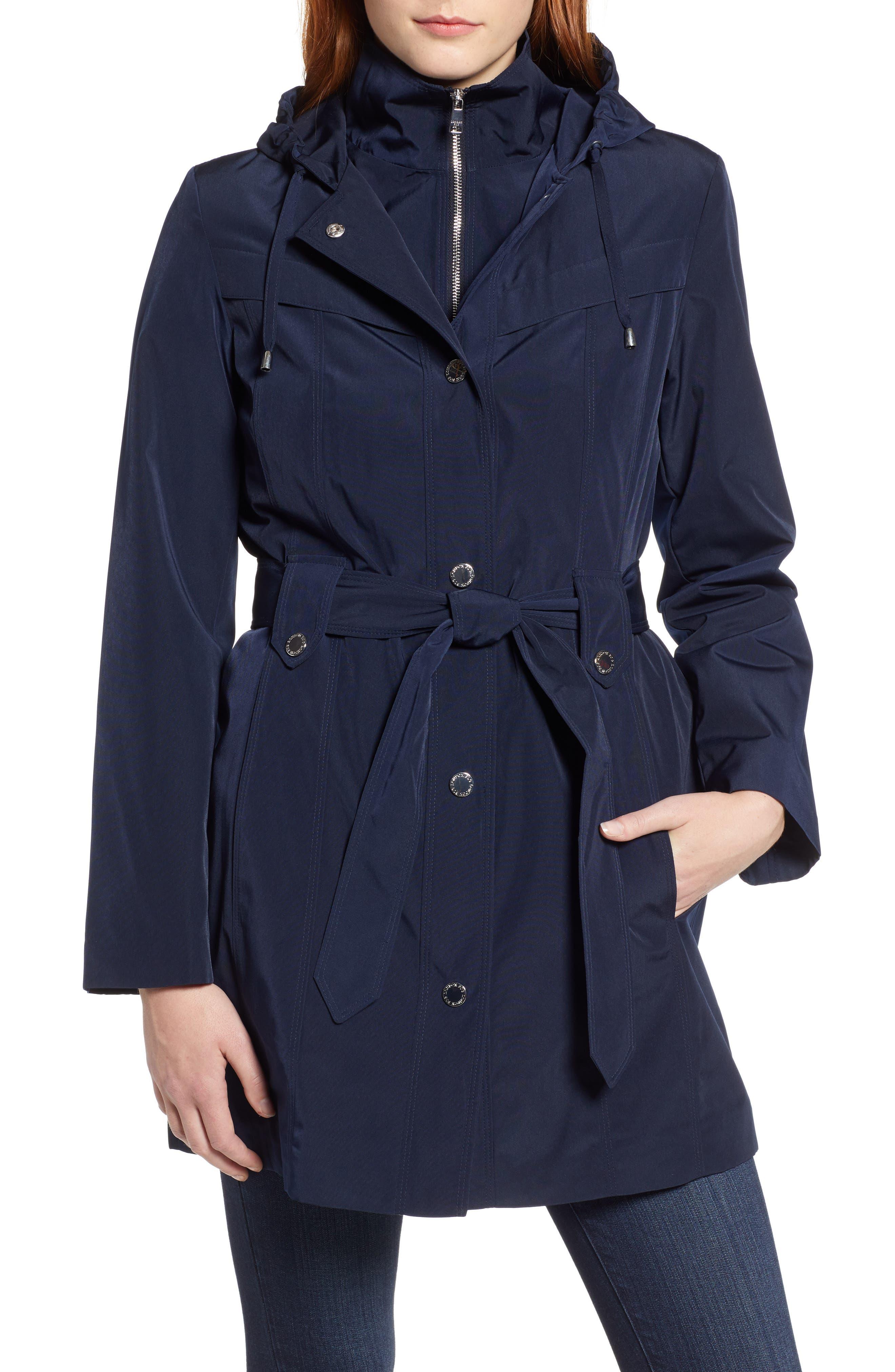 LONDON FOG, Hooded Trench Coat, Alternate thumbnail 5, color, NAVY