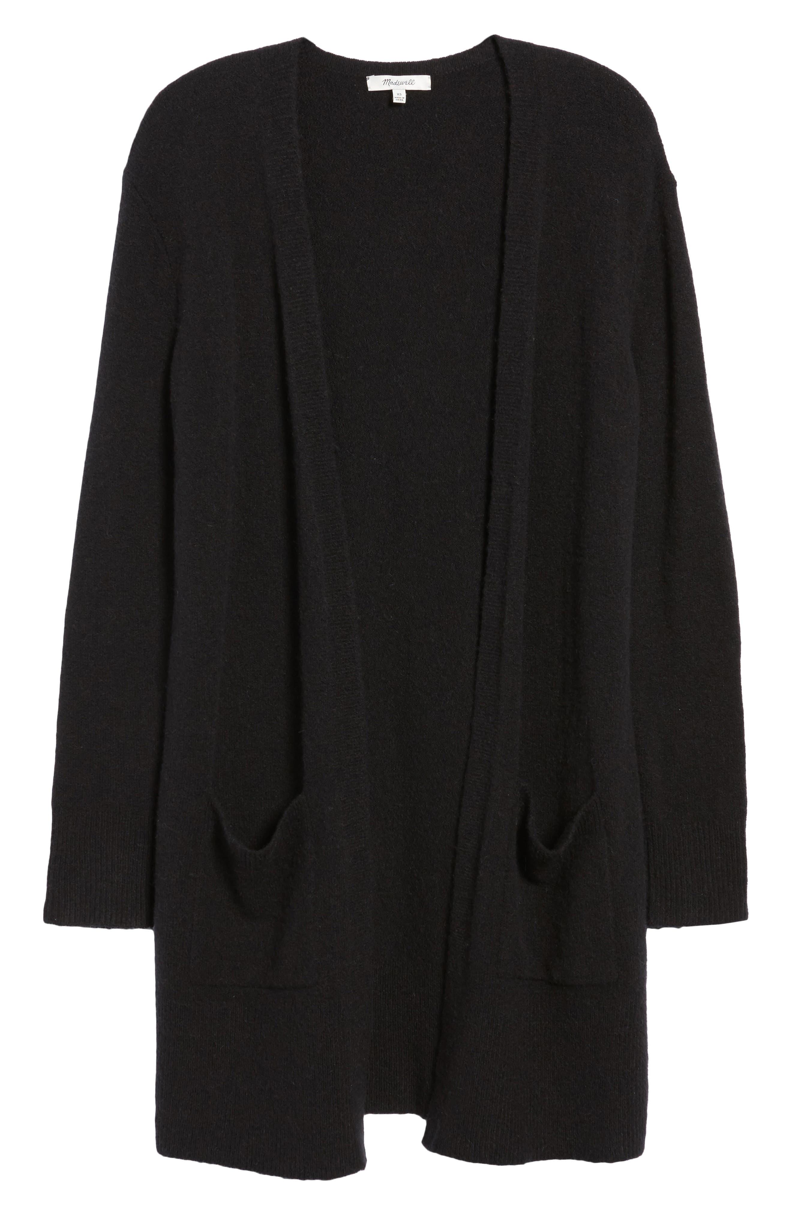 MADEWELL, Kent Cardigan Sweater, Alternate thumbnail 6, color, TRUE BLACK